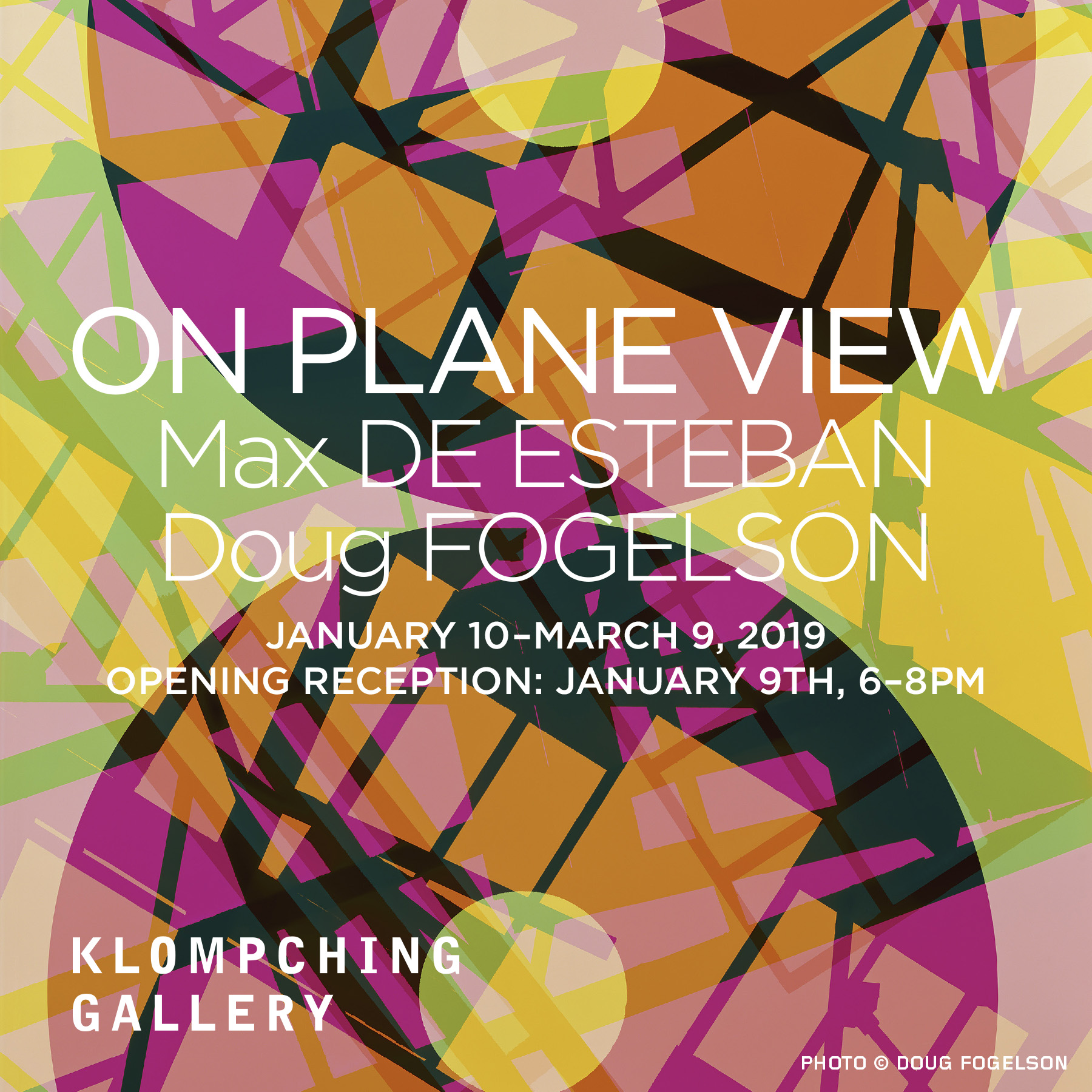 A click-through image graphic for the exhibition 'On Plane View', January 10th to March 9th, 2019.