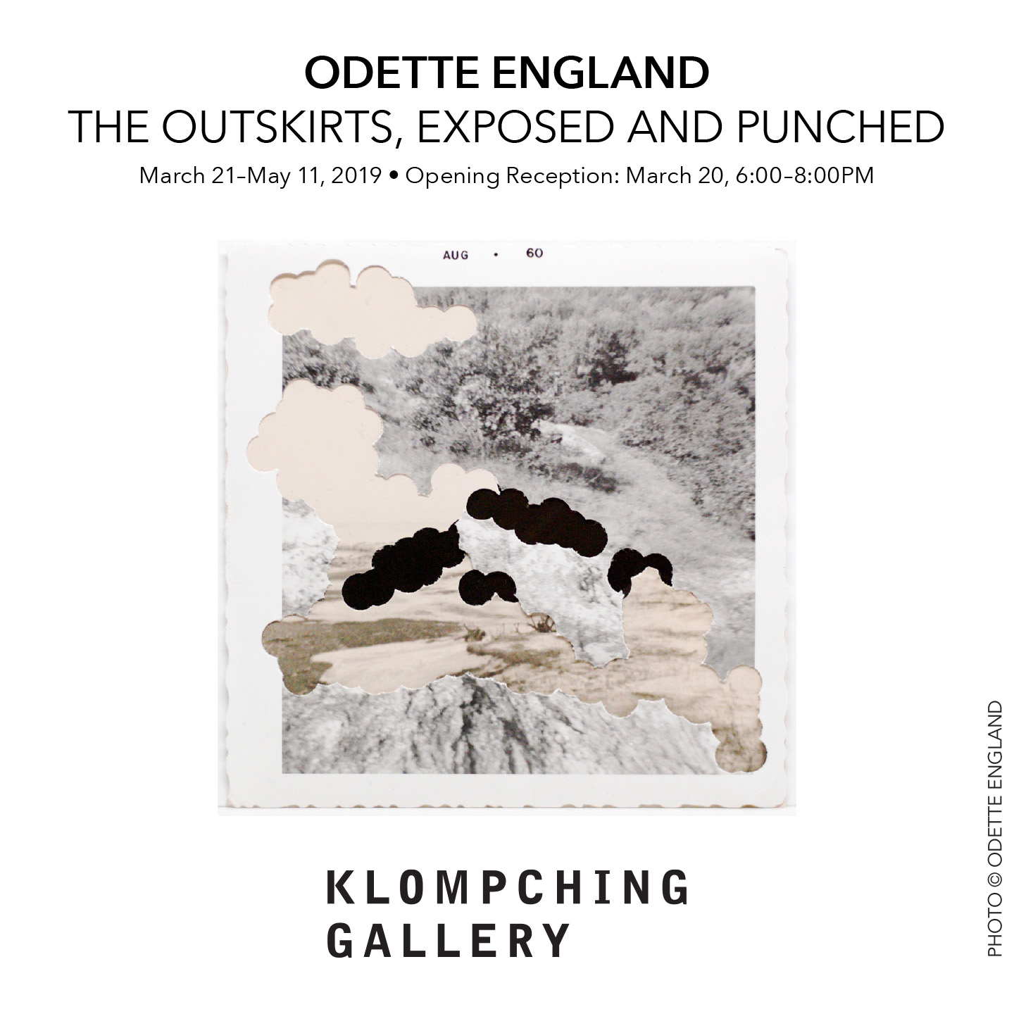 A click-through image graphic for the exhibition 'The Outskirts, Exposed and Punched', March 21st to May 11th, 2019.