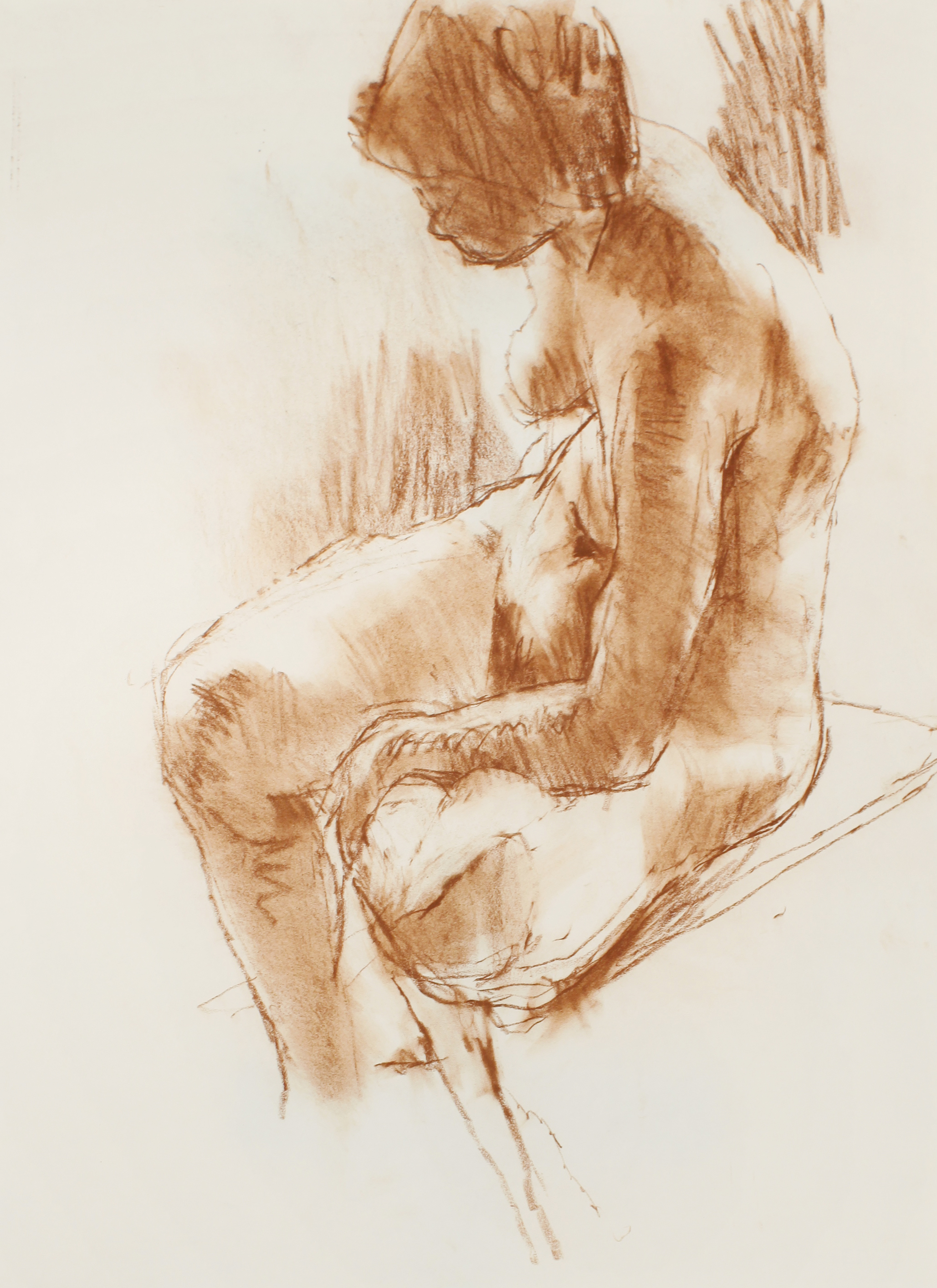 1980s_Seated_Nude_with_Bent_Leg_brown_pastel_on_paper_26x19in_WPF459.jpg