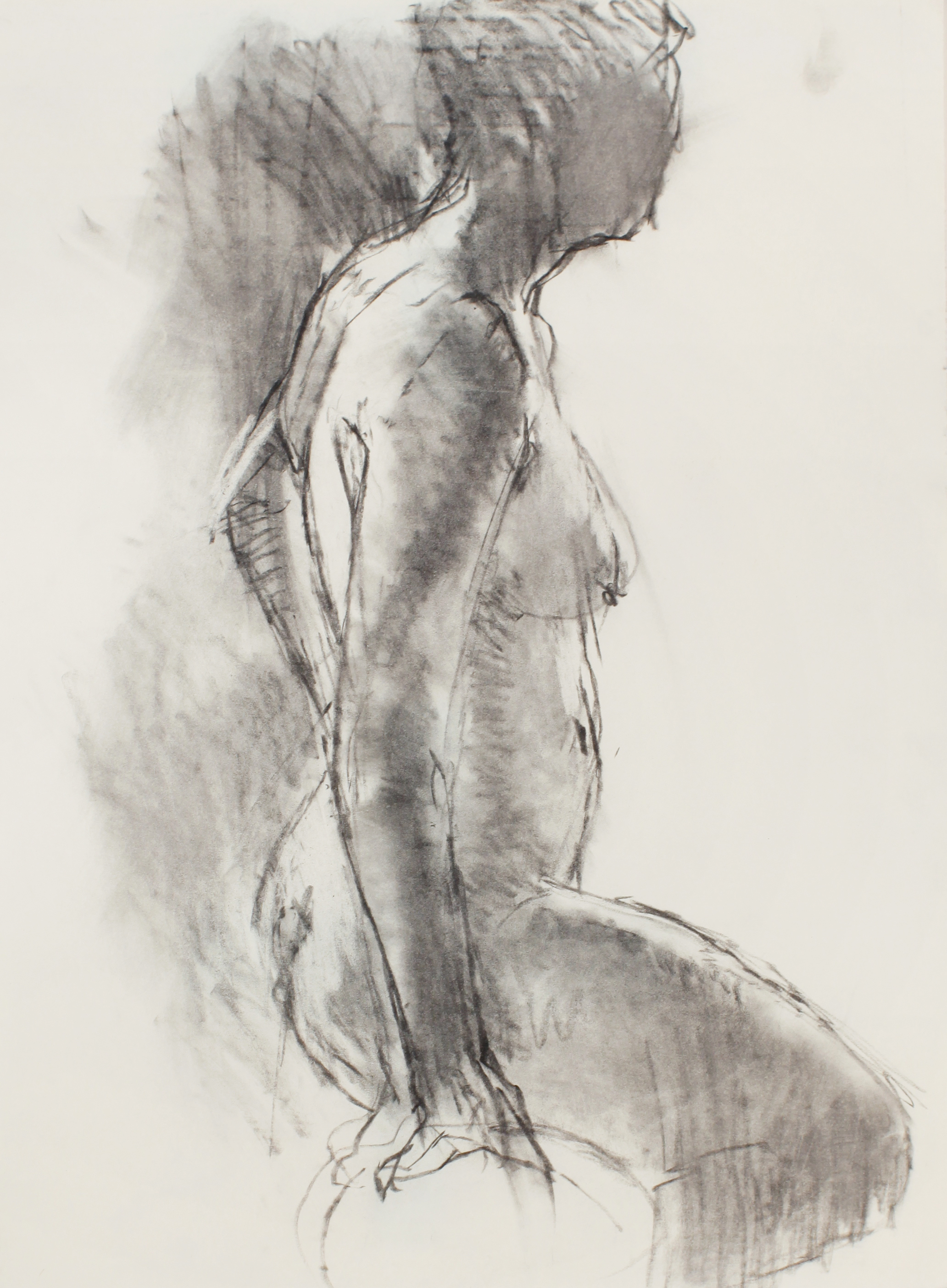 1980s_Standing_Nude_in_Profile_with_Raised_Leg_charcoal_on_paper_26x19in_WPF487.jpg