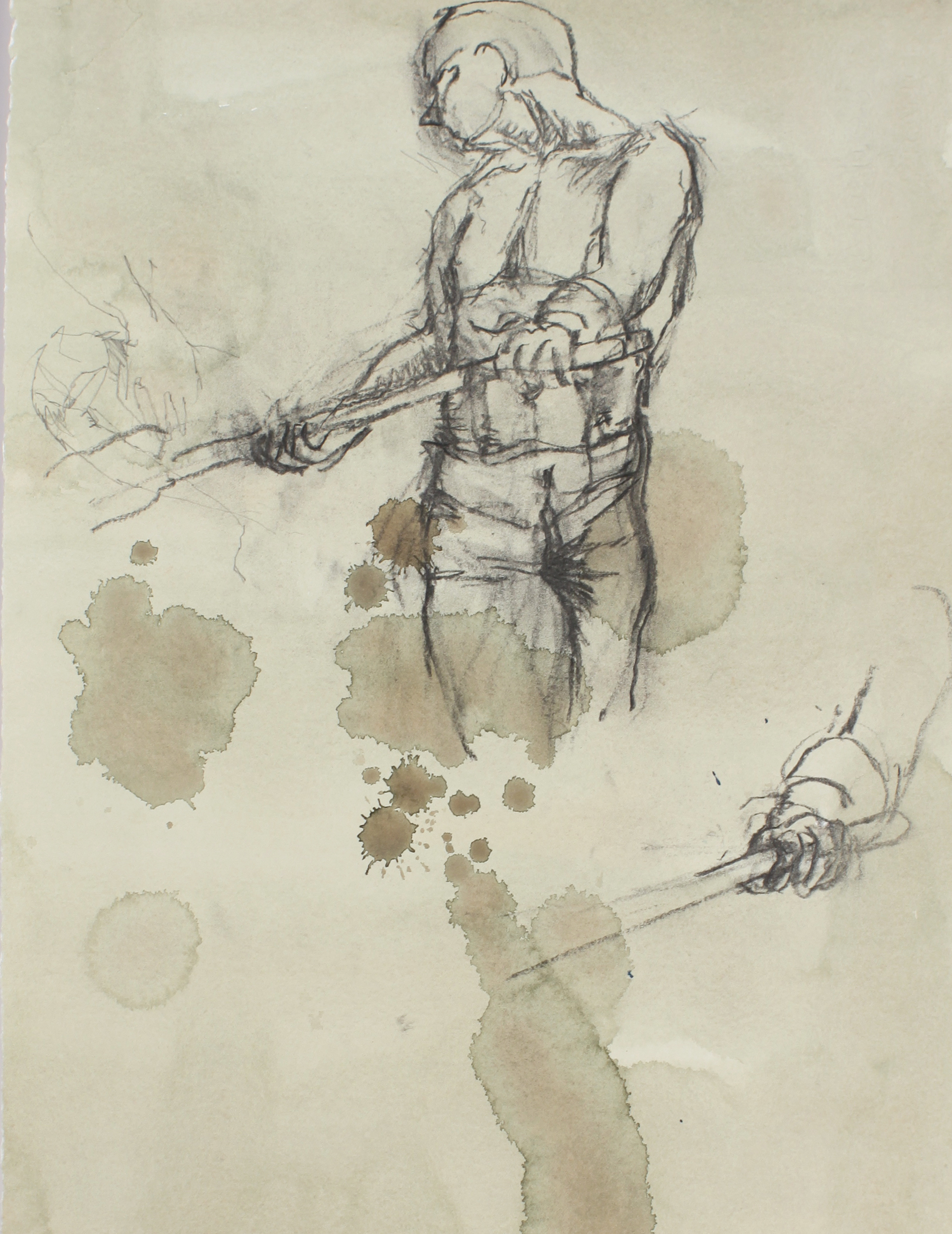 1980s_Standing_with_Shovel_Turned_to_Left_charcoal_on_painted_paper_15x11in_WPF604.jpg