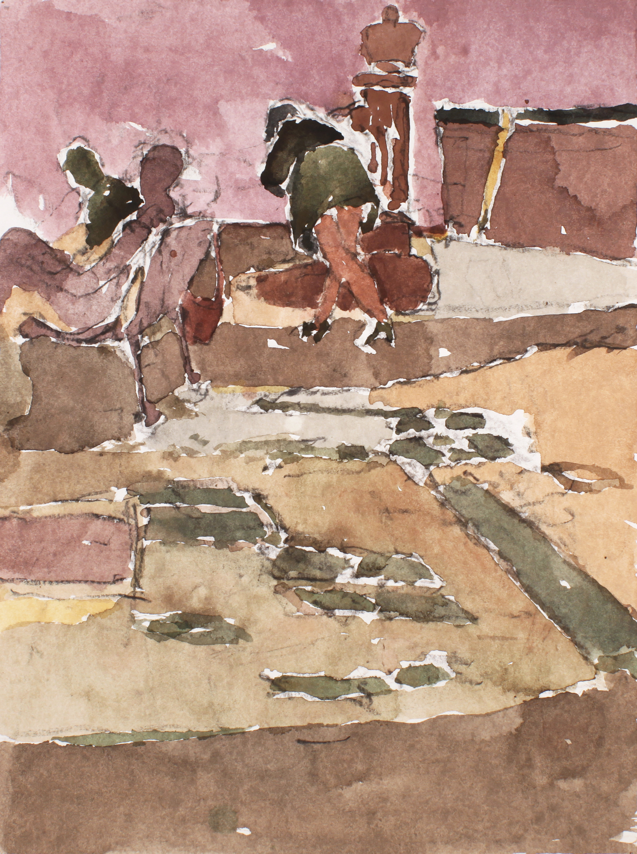 1990_Figures_in_Venice_watercolour_on_paper_15x11in_WPF329.jpg