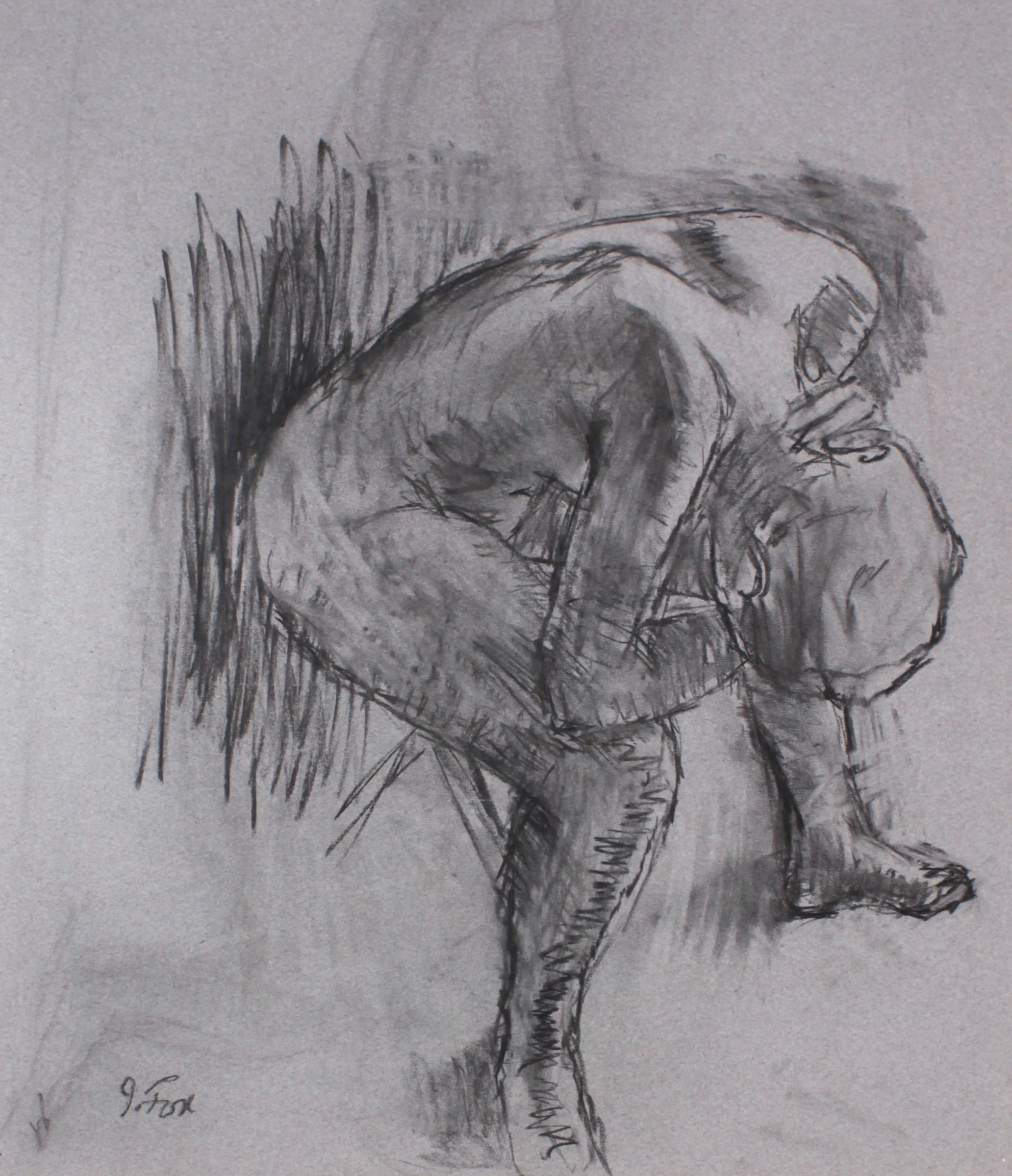 1990s_Seated_Nude_Bent_Over_With_Hand_on_Neck_charcoal_on_paper_22x19in_WPF489.jpg