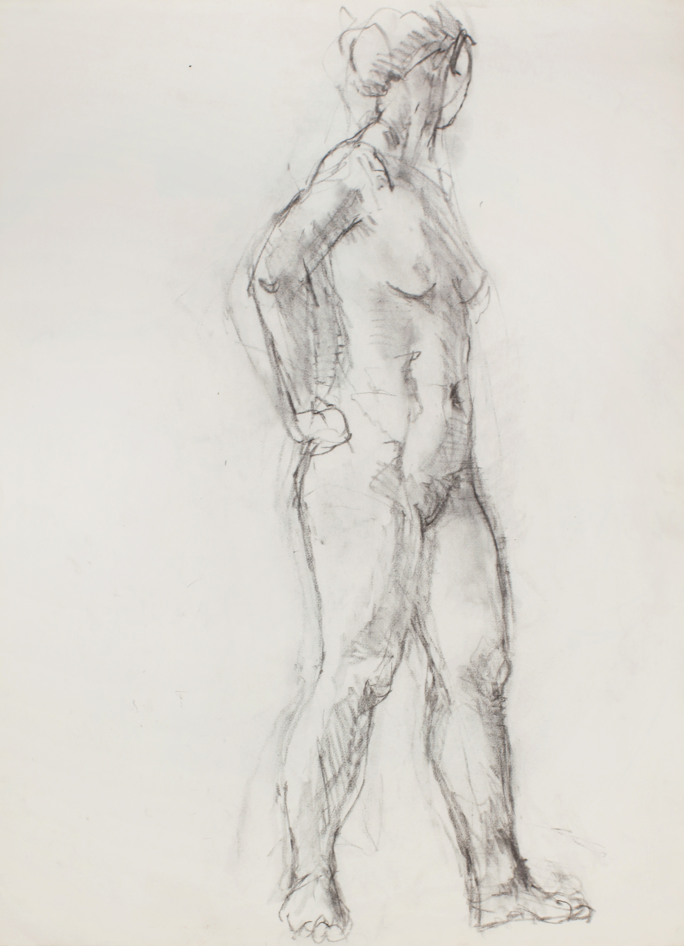 1990s_Standing_Nude_in_Semi_Profile_with_Hand_on_Hip_charcoal_on_paper_30x22in_WPF472.jpg