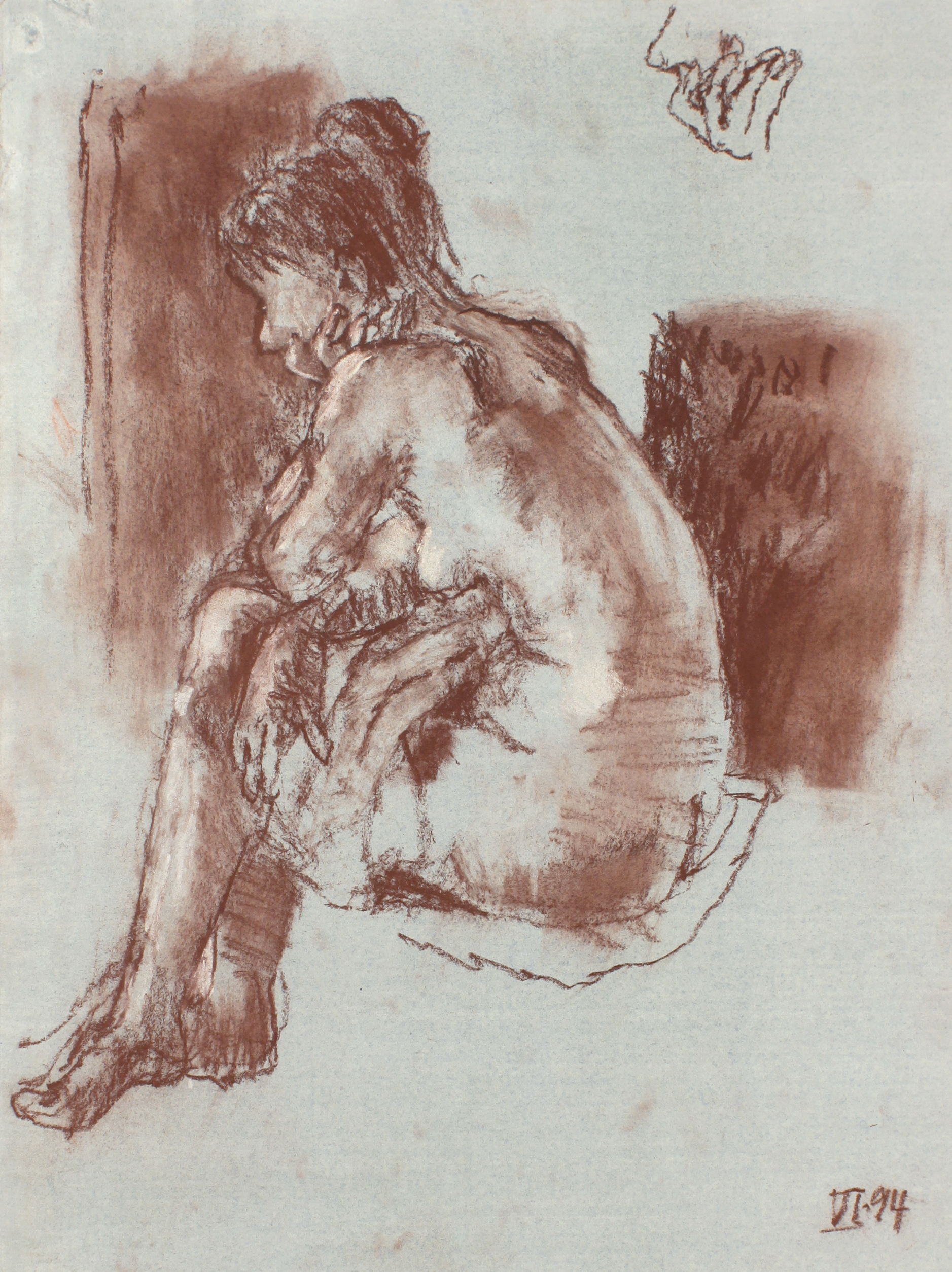 1994_Resting_Nude_with_Crossed_Legs_pastel_on_green_painted_paper_WPF533.jpg