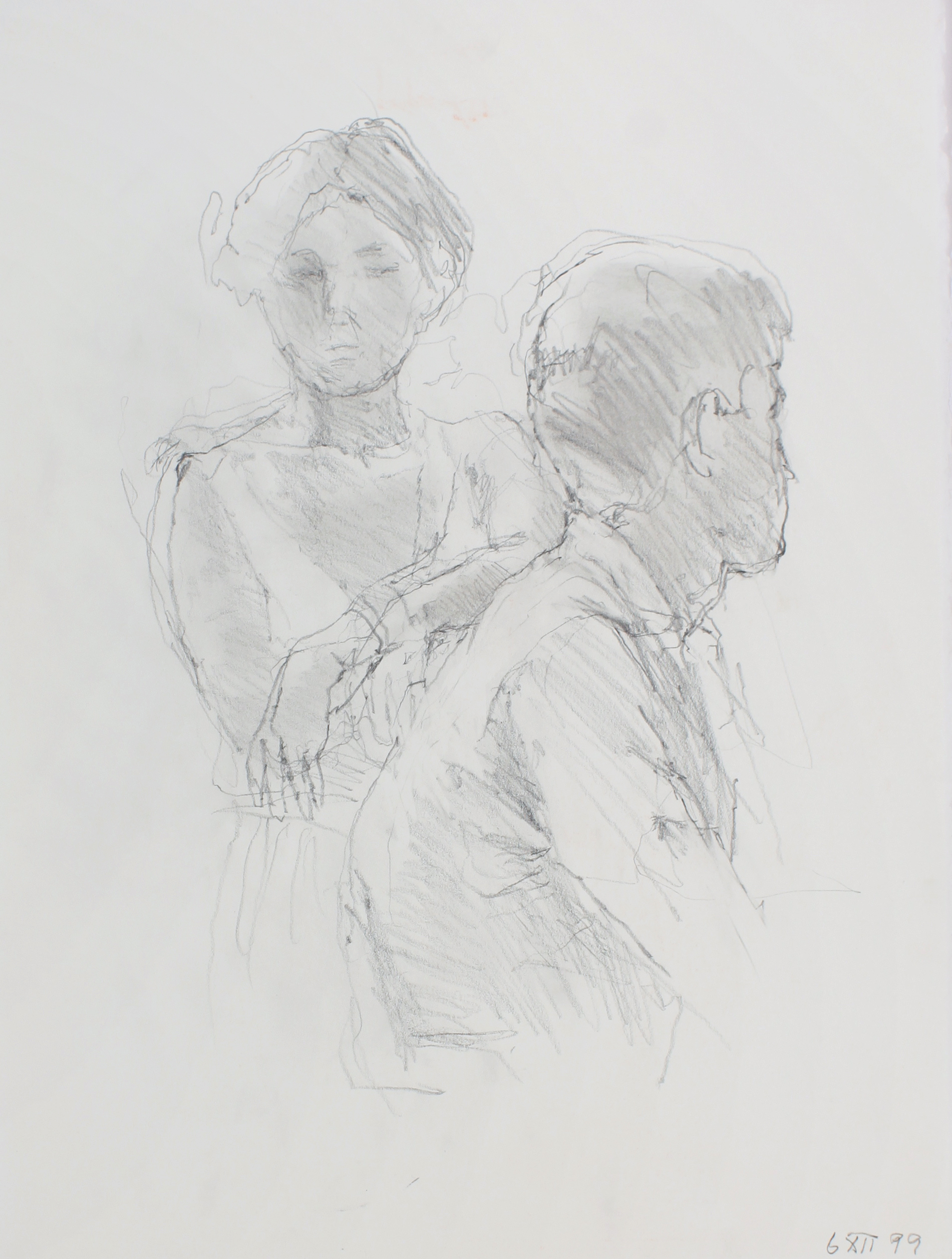 1999_Facing_Female_with_Male_Figure_in_Profile_pencil_on_paper_WPF588.jpg