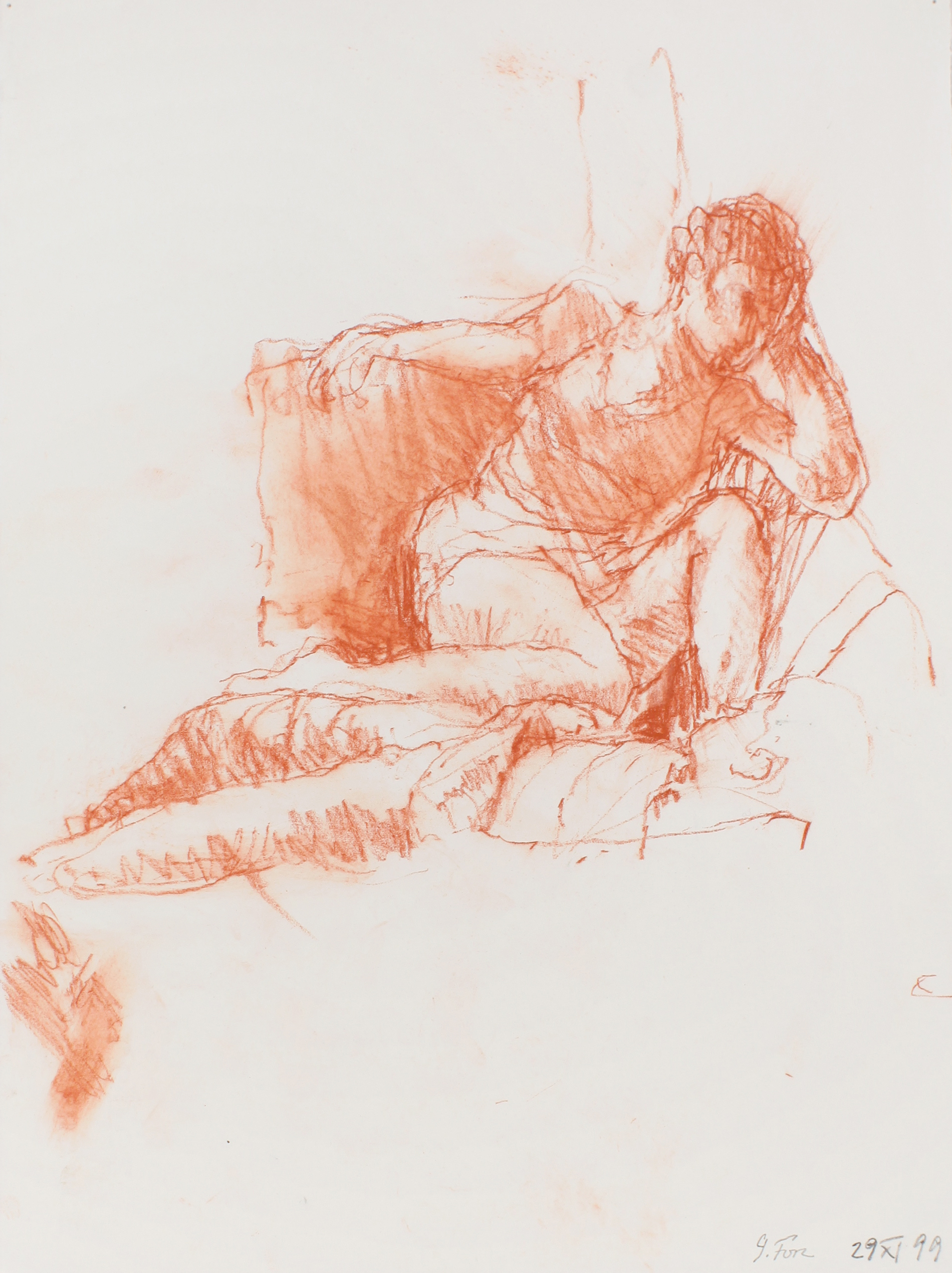 1999_Figure_Seated_in_Chair_Facing_Reclining_Figure_red_conte_on_paper_15x11in_WPF540.jpg