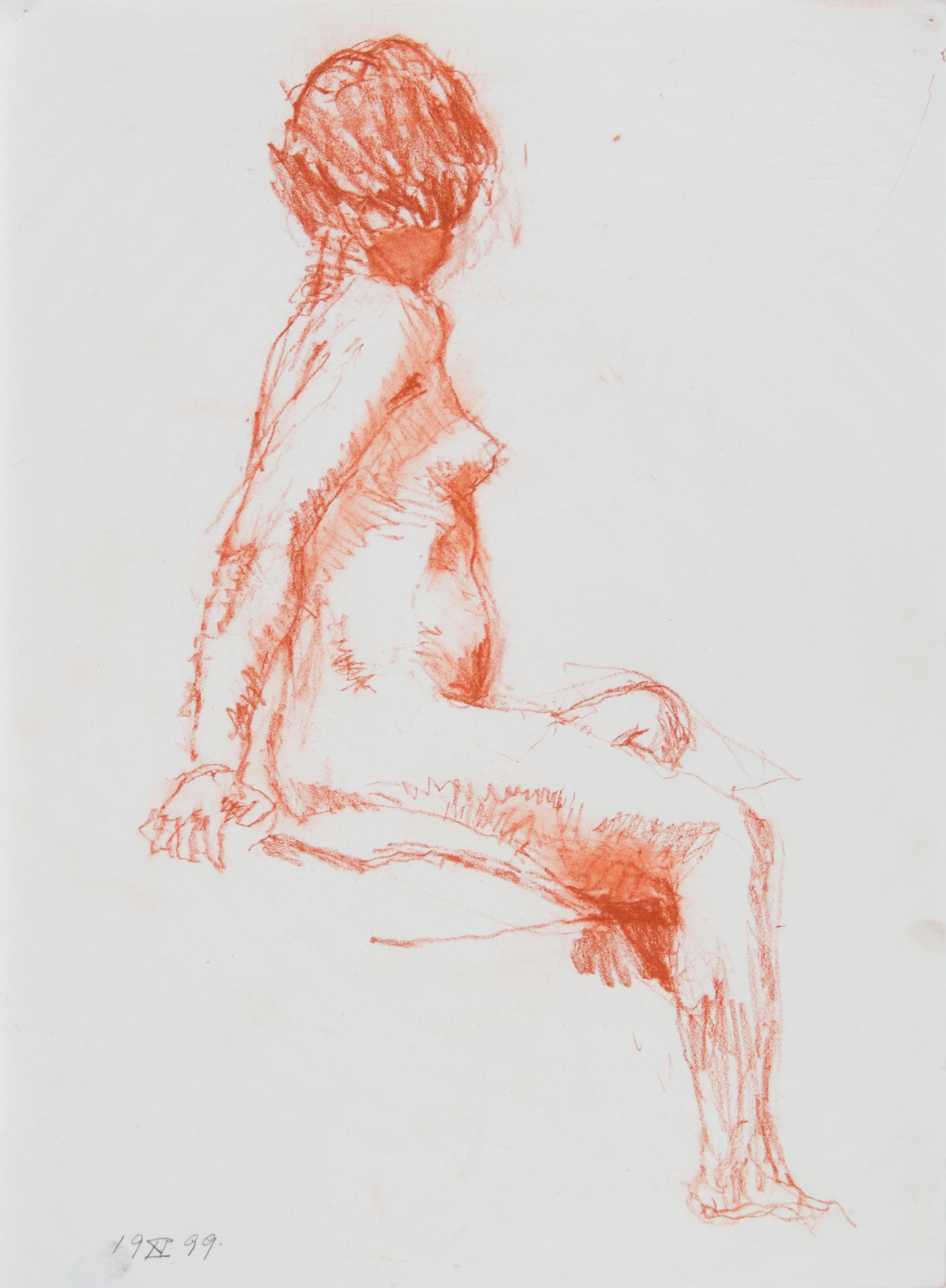 1999_Seated_Figure_with_Turned_Head_side_view_red_conte_15x11in_WPF408.jpg
