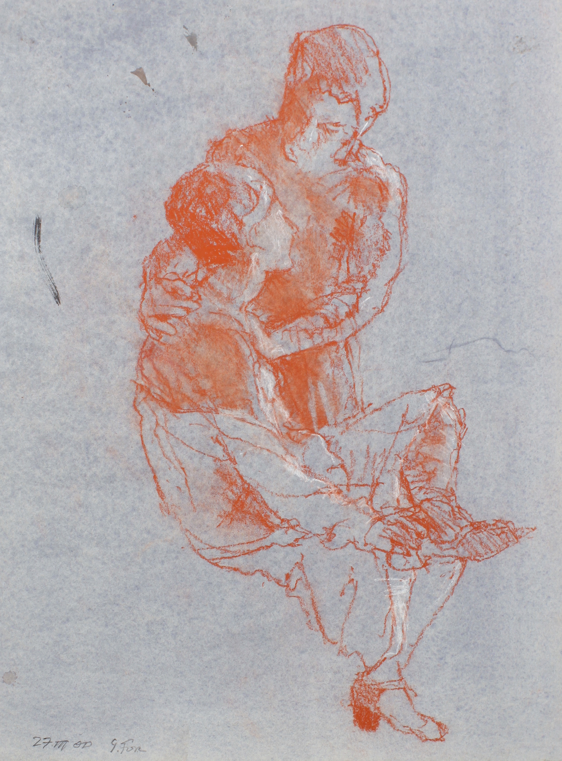 2000_Standing_Figure_Clasping_Shoulders_of_Seated_Figure_pastel_on_bluented-_paper_15x11in_WPF537.jpg