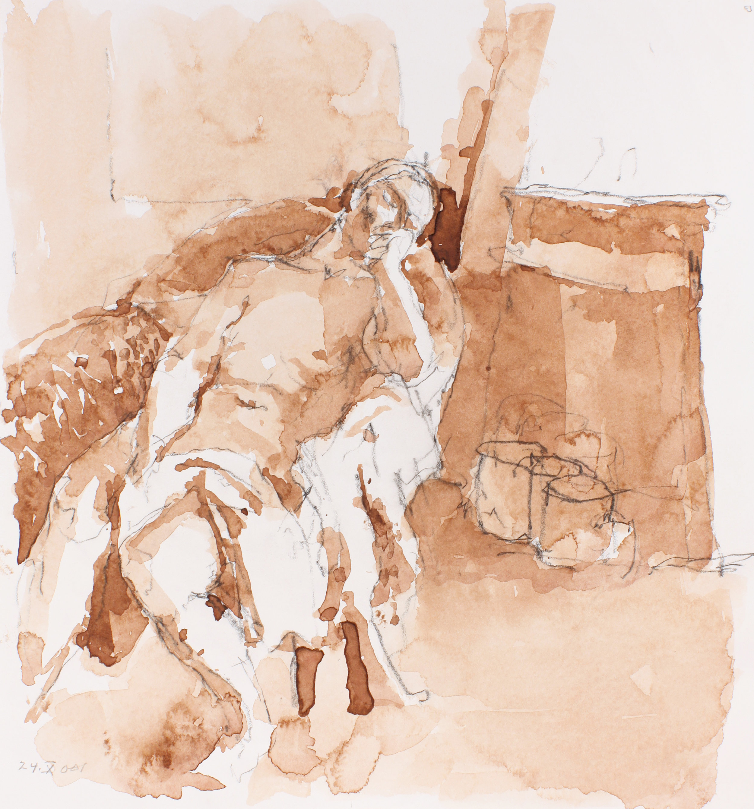 2001_Reclining_Nude_in_Armchair_with_Bag_watercolour_and_conté_on_paper_12x11in_WPF201.jpg