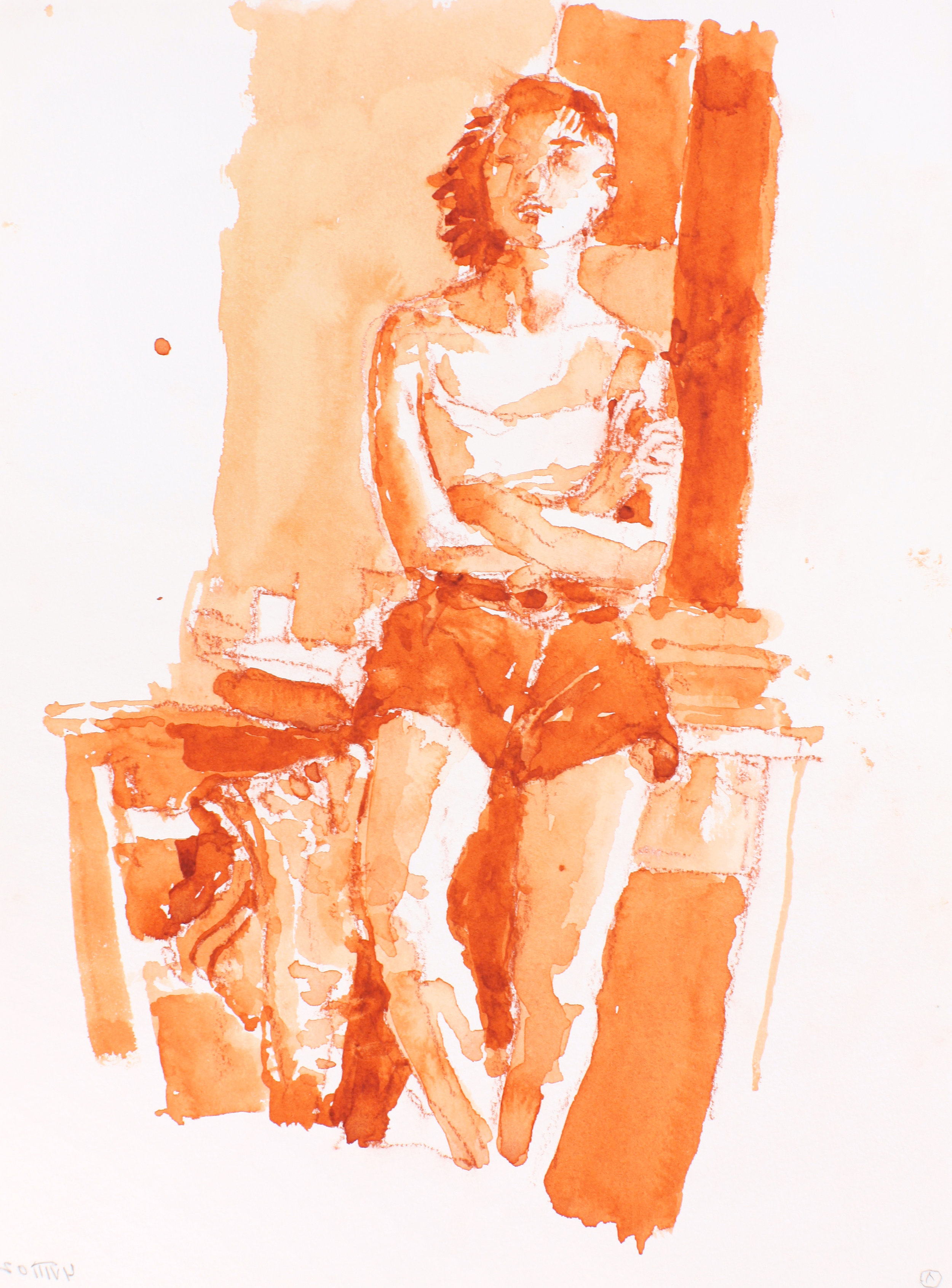 2002_Standing_Woman_in_Shorts__Leaning_Against_Table_watercolour_and_red_conté_on_paper_15x11in_WPF220.jpg