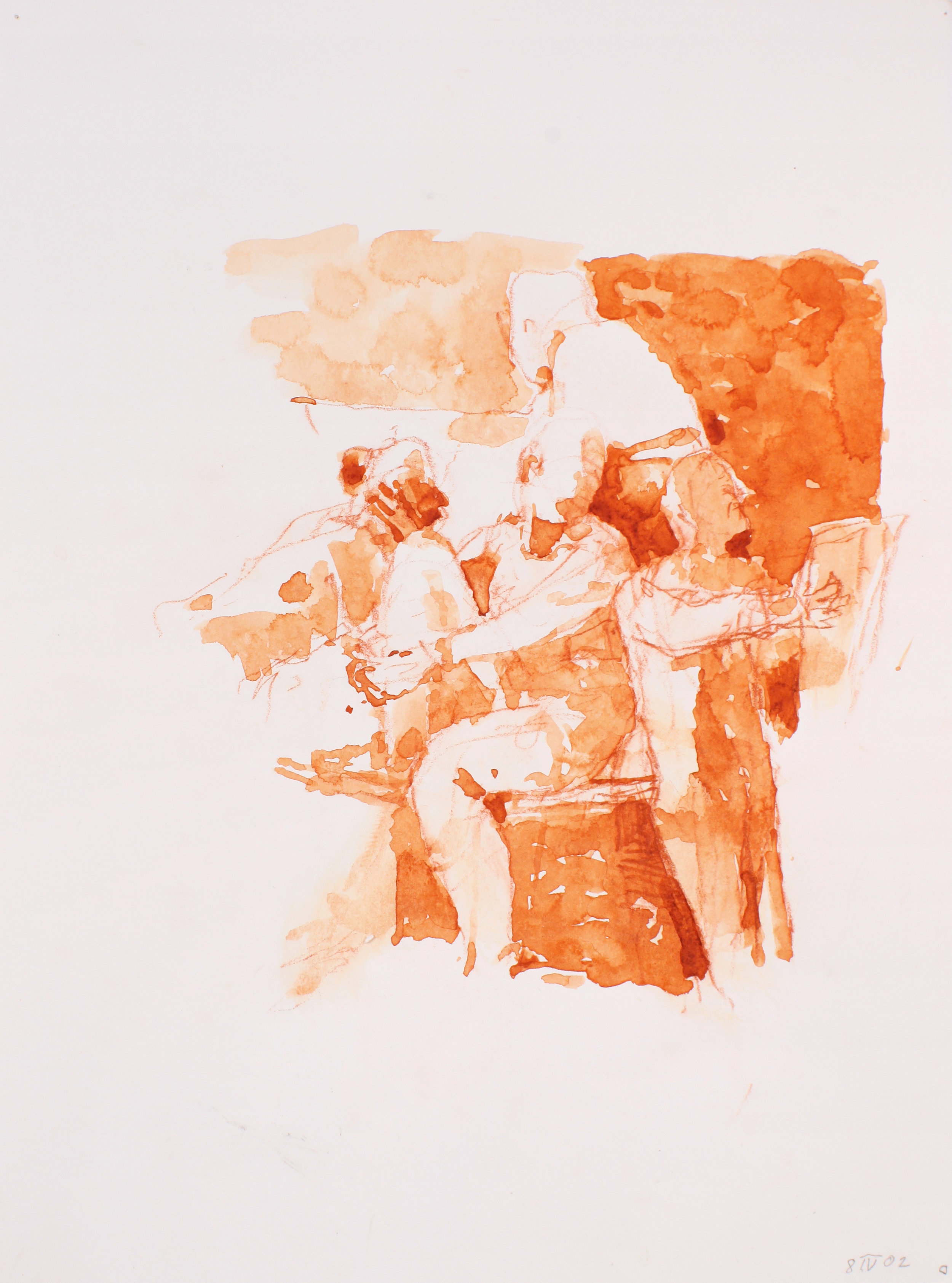 2002_Three_Seated_Figures_watercolour_and_red_conte_on_paper_15x11in_WPF209.jpg