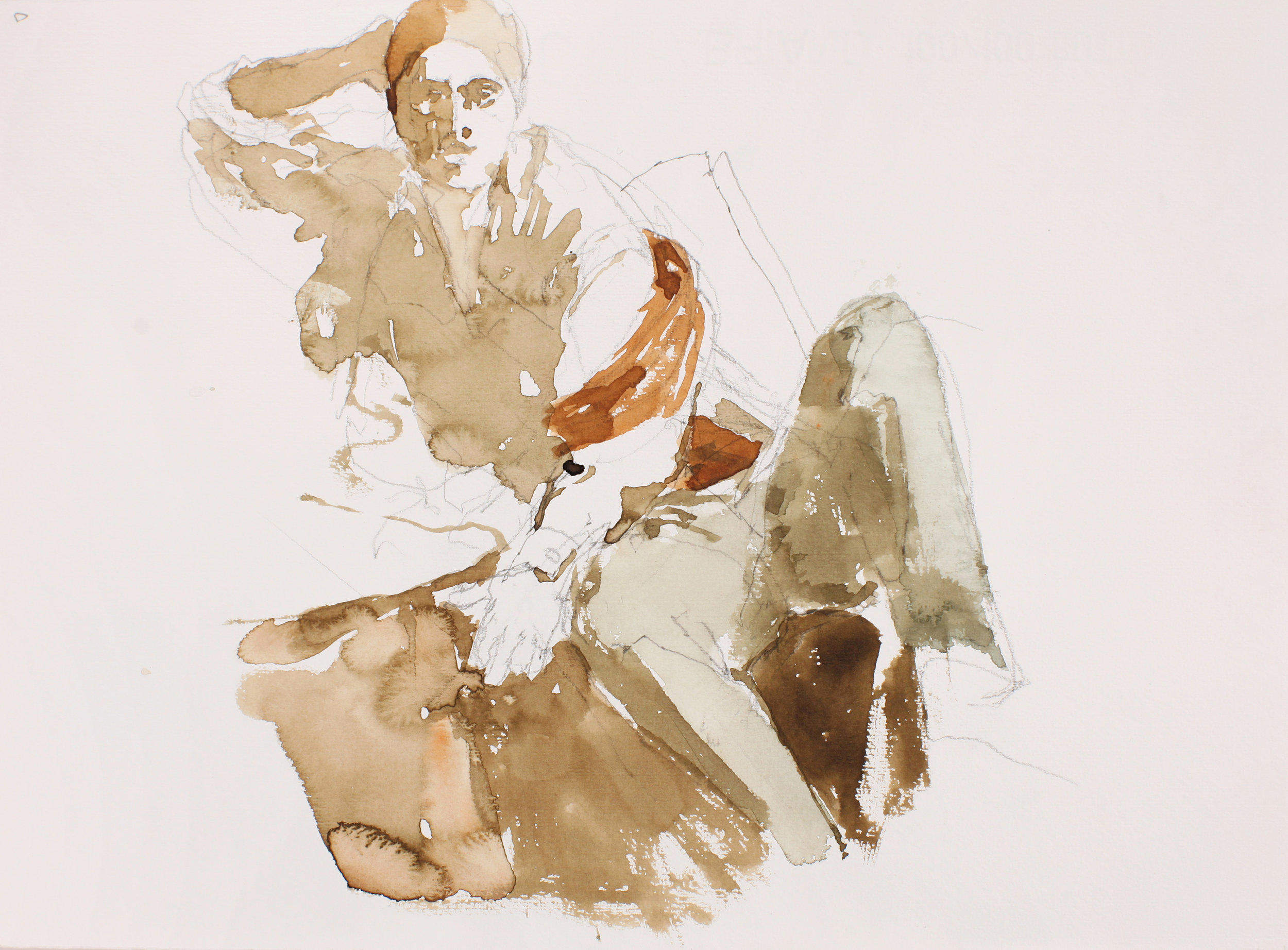2005_Seated_Figure_with_Scarf_Around_Right_Arm_and_Hand_at_Back_of_Head_watercolour_and_pencil_on_paper_11x15in_WPF320.jpg