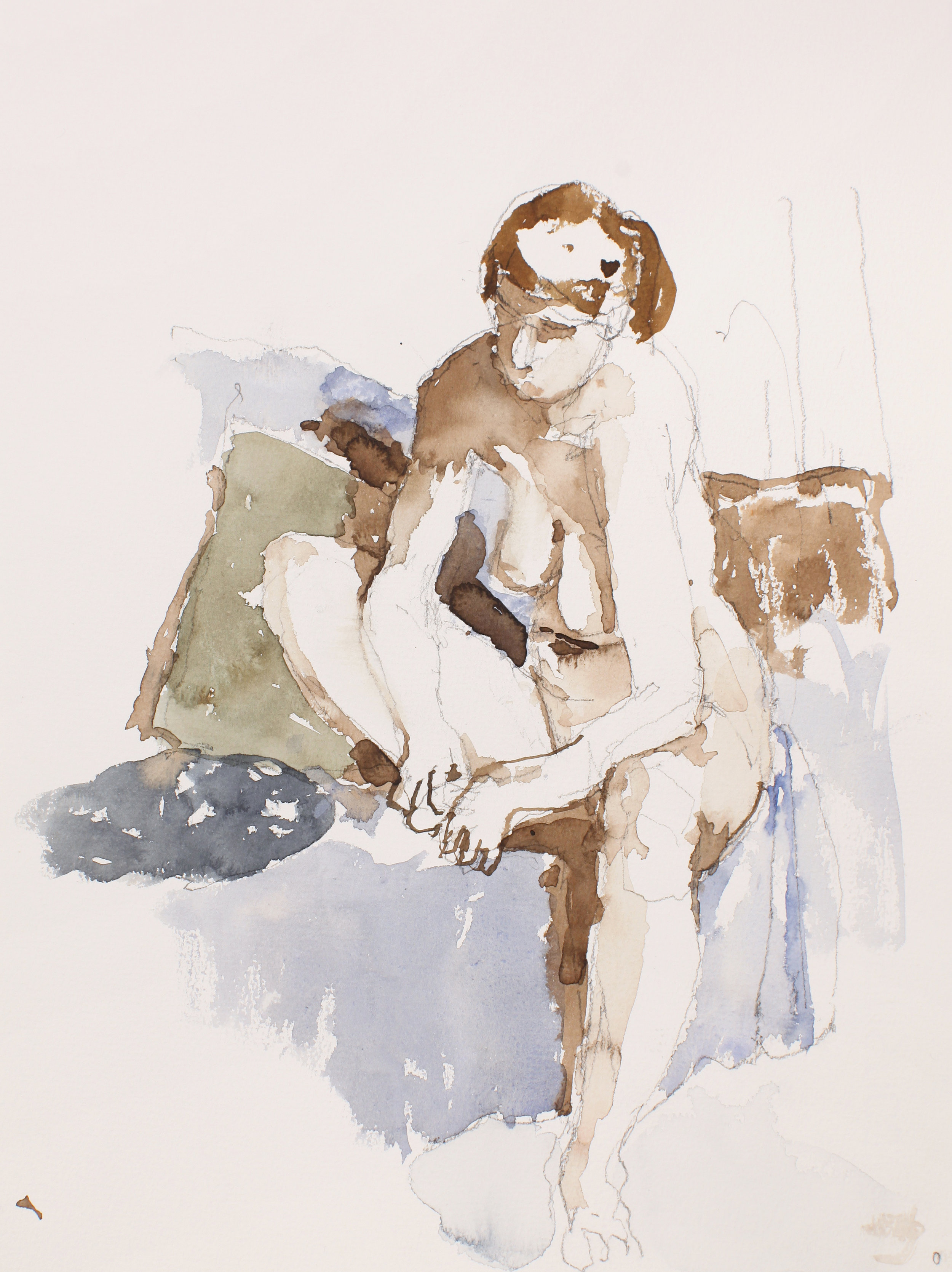 2006_Nude_Seated_on_Sofa_with_Pillows_Holding_Foot_watercolour_and_pencil_on_paper_15x11in_WPF469.jpg