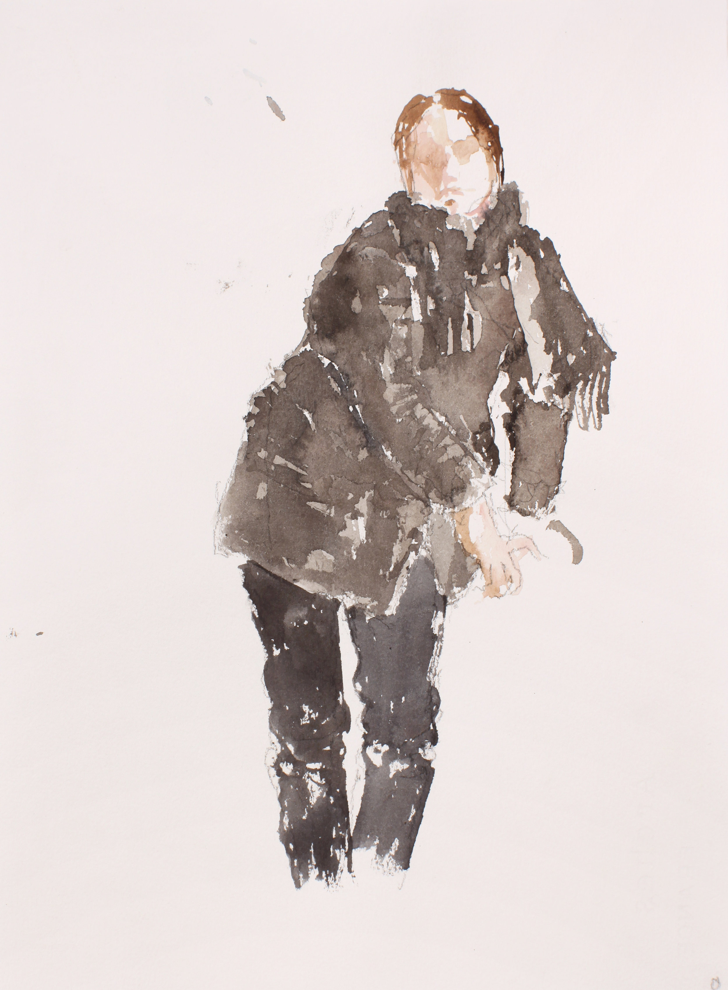 2006_Standing_Female_with_Black_Jacket_and_Scarf_watercolour_and_pencil_on_paper_15x11in_WPF445.jpg