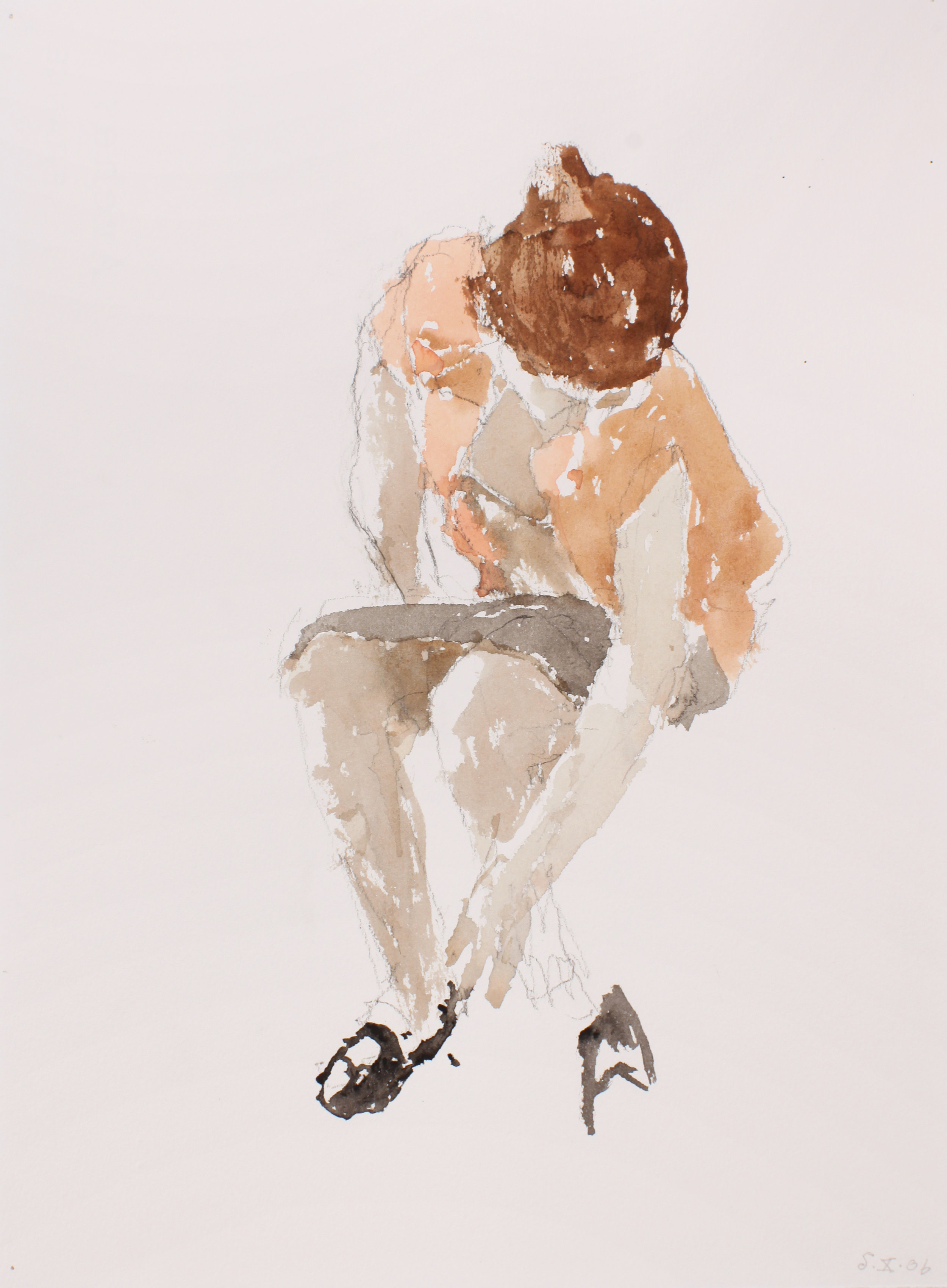 2006_Woman_Putting_on_Shoes_watercolour_and_pencil_on_paper_15x11in_WPF094.jpg