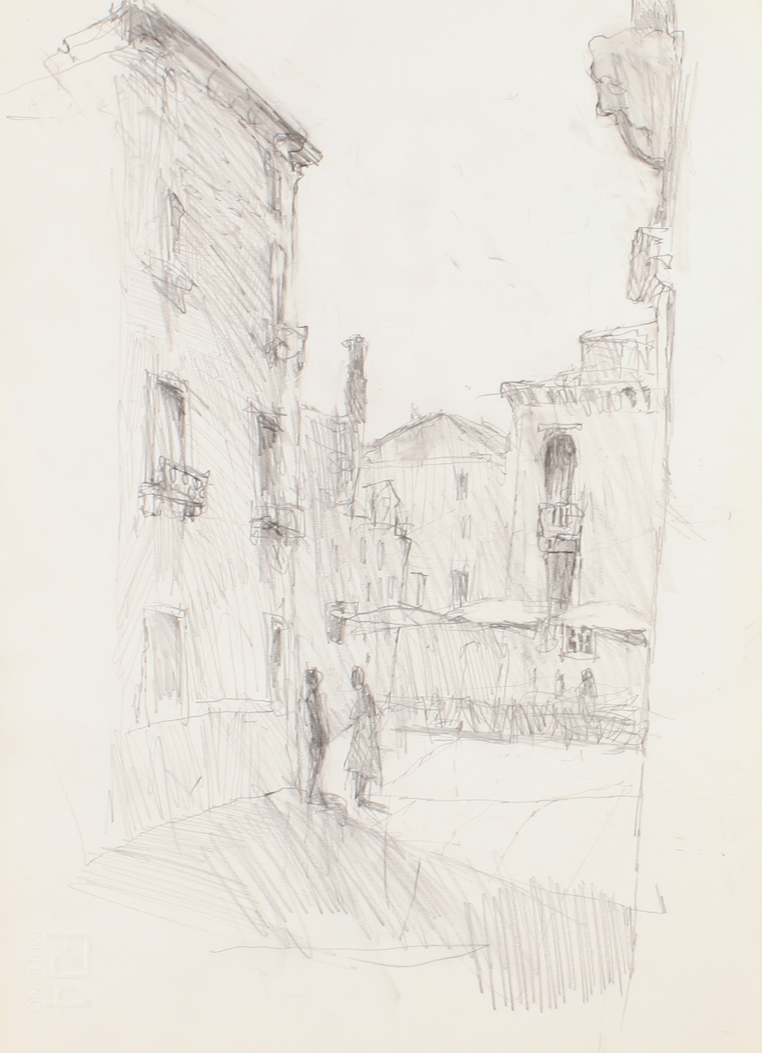 1980s_Venice_Square_with_Palazzo_and_Church_pencil_on_paper_13x9in_WPF070.jpg