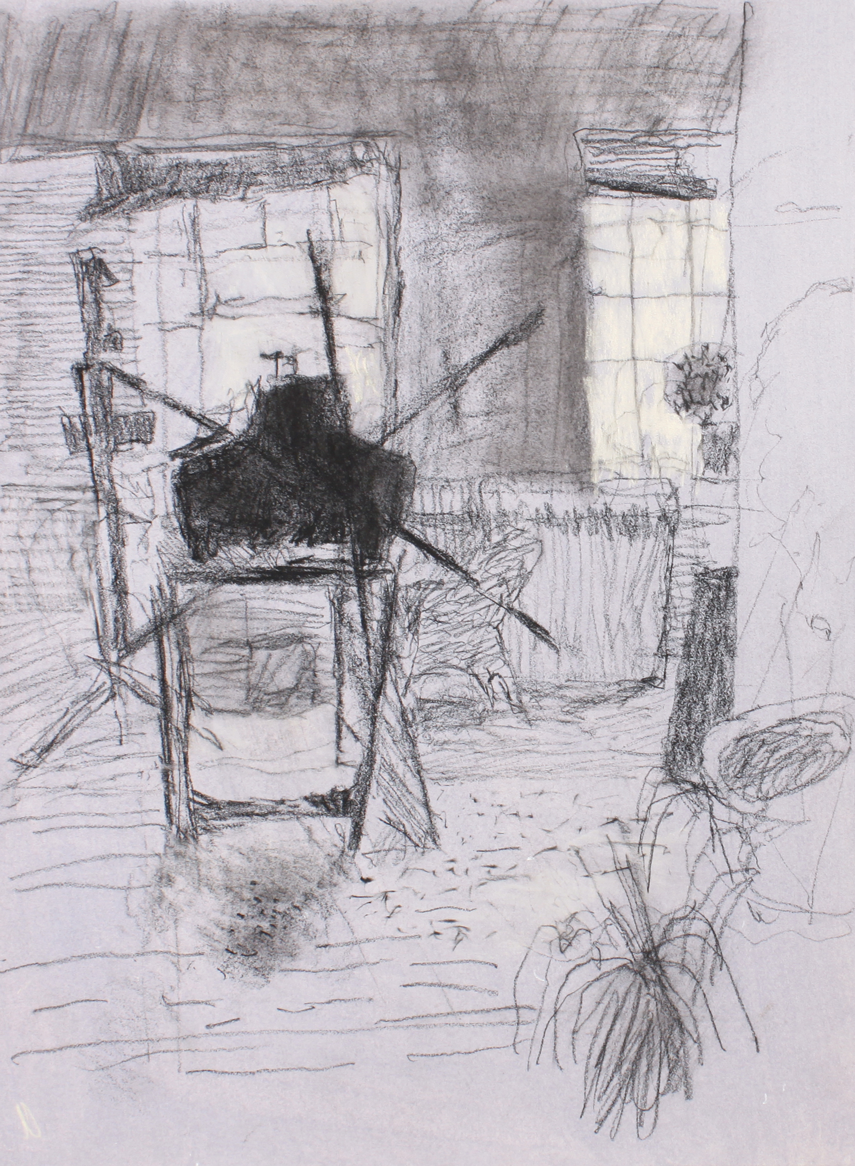 1990s_Etching_Press_in_Studio_Montreal_charcoal_on_blue_gren_paper_15x11in_WPF118.jpg