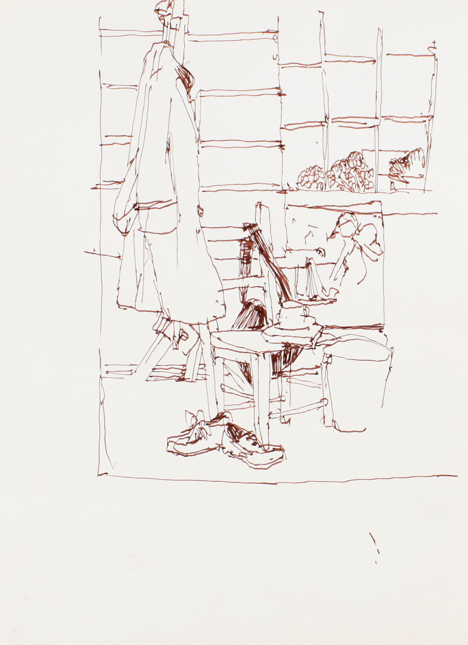 1990s_Studio_with_Coat_on_Easel_ink_on_paper_13x9in_WPF113.jpg