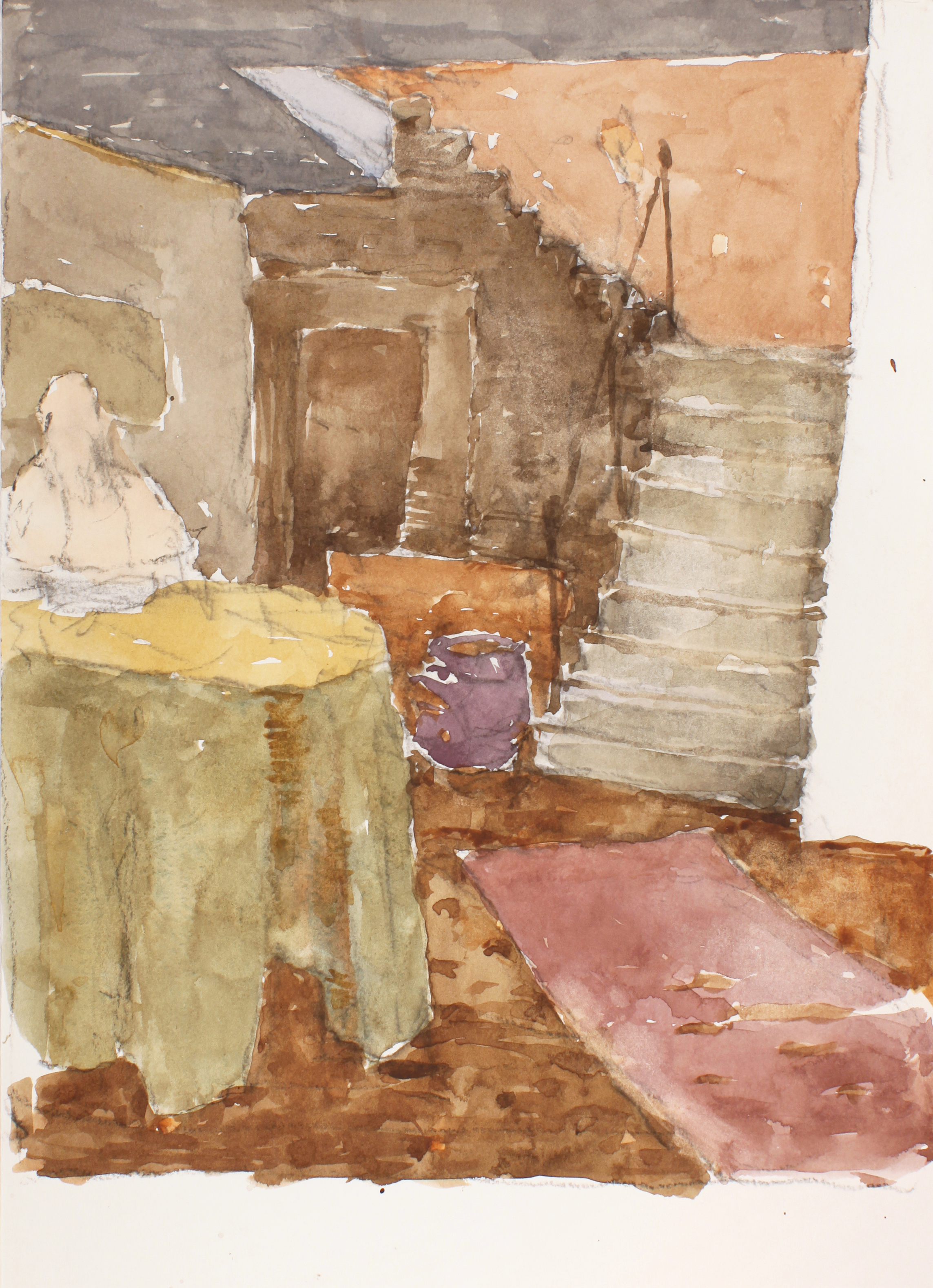 1991_Interior_of_the_Palazzo_Barbaro_with_Green_Tablecloth_Venice_watercolour_and_charcoal_on_paper_17x12in_WPF667.jpg