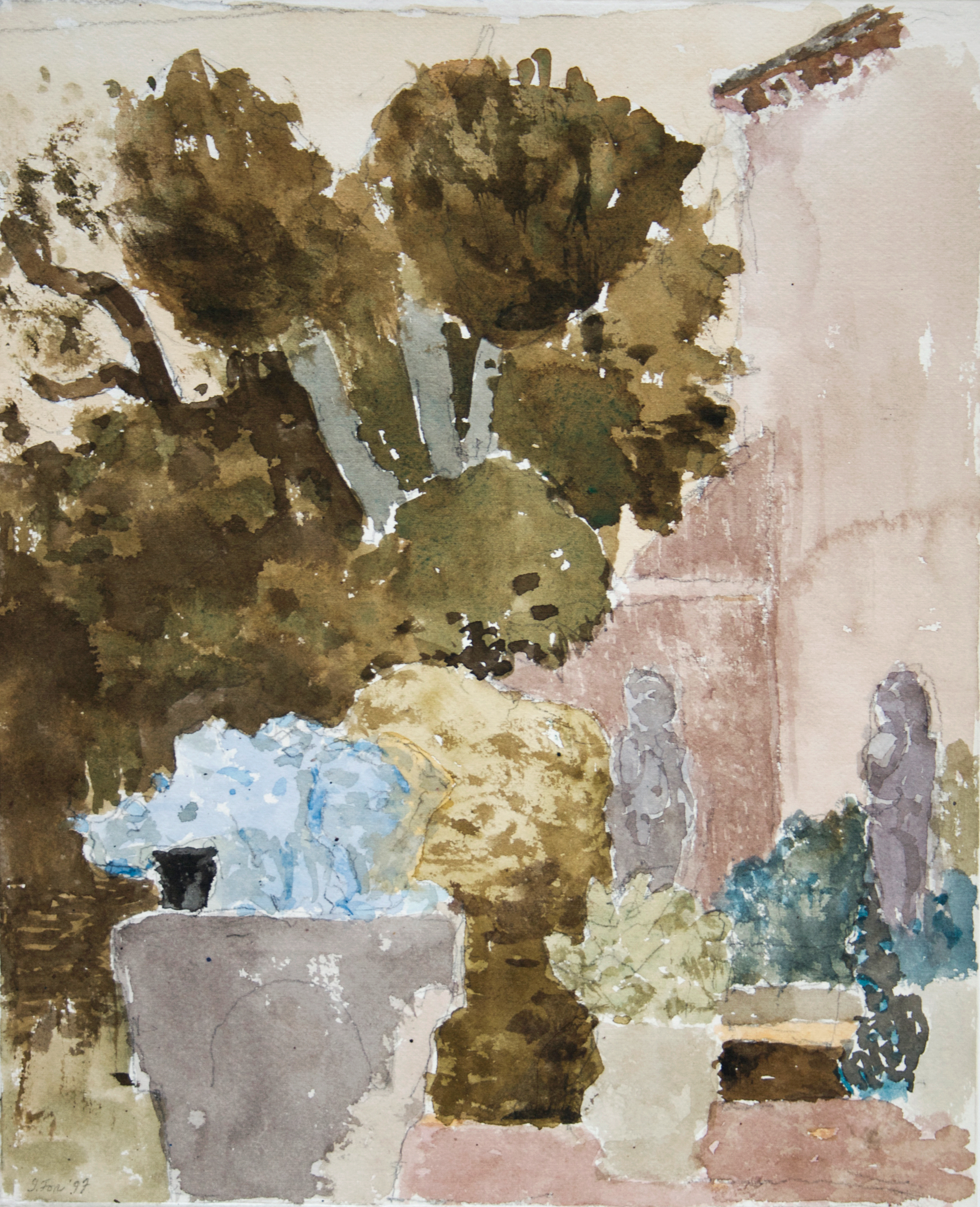 1997_Corner_of_the_Habsburg_Garden_Venice_watercolour_and_charcoal_on_paper_16x13in_WPF349.jpg