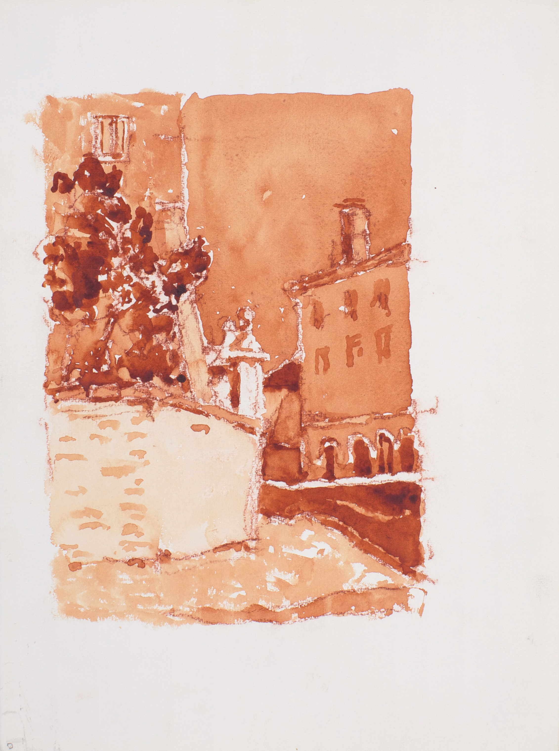 2002_Curved_Wall_Venice_watercolour_and_red_conte_on_paper_15x11in_38x28cm_WPF337.jpg