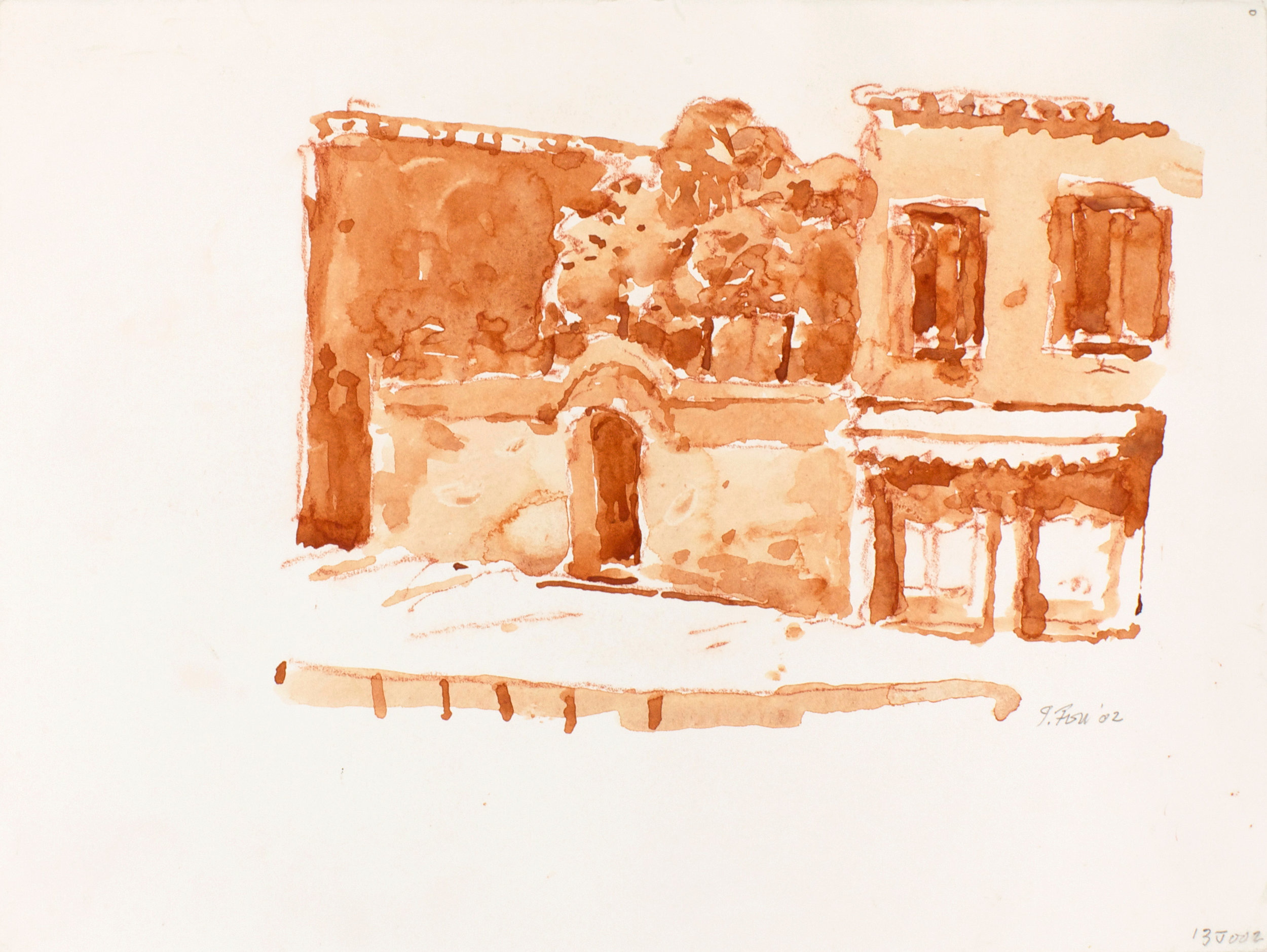 2002_Front_of_Shop_Venice_watercolour_and_red_conte_on_paper_11x15in_WPF028.jpg