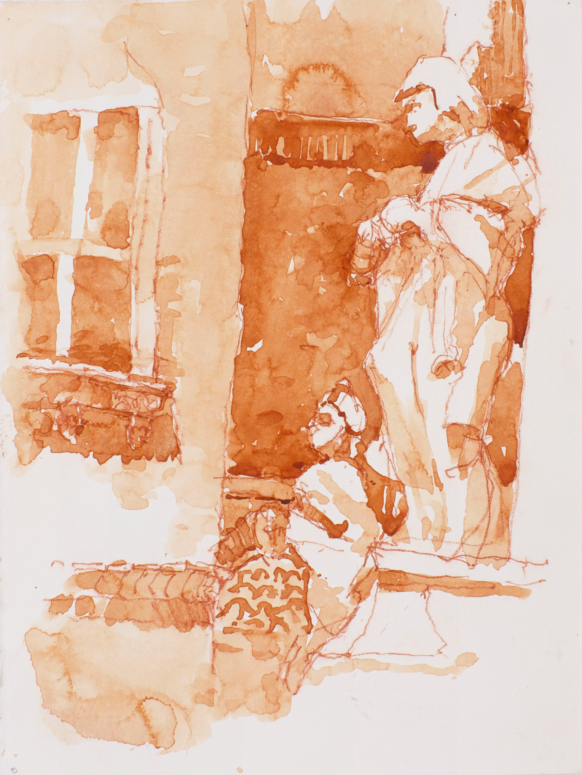 2003_Sculpture_and_Window_Venice_watercolour_and_red_conte_on_paper_15x11in_38x28cm_WPF043.jpg