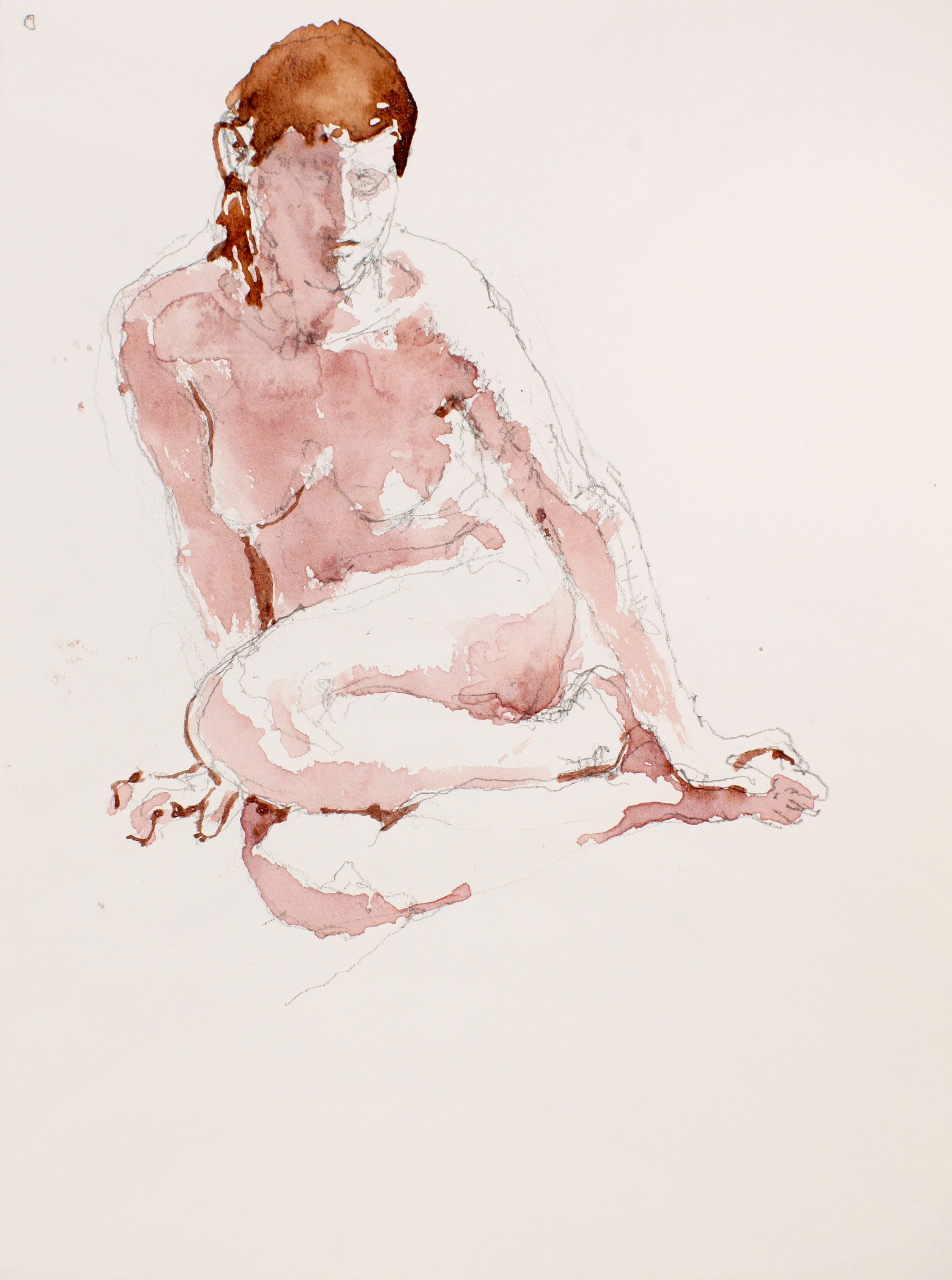 Seated Nude with Red Hair and Tucked Legs