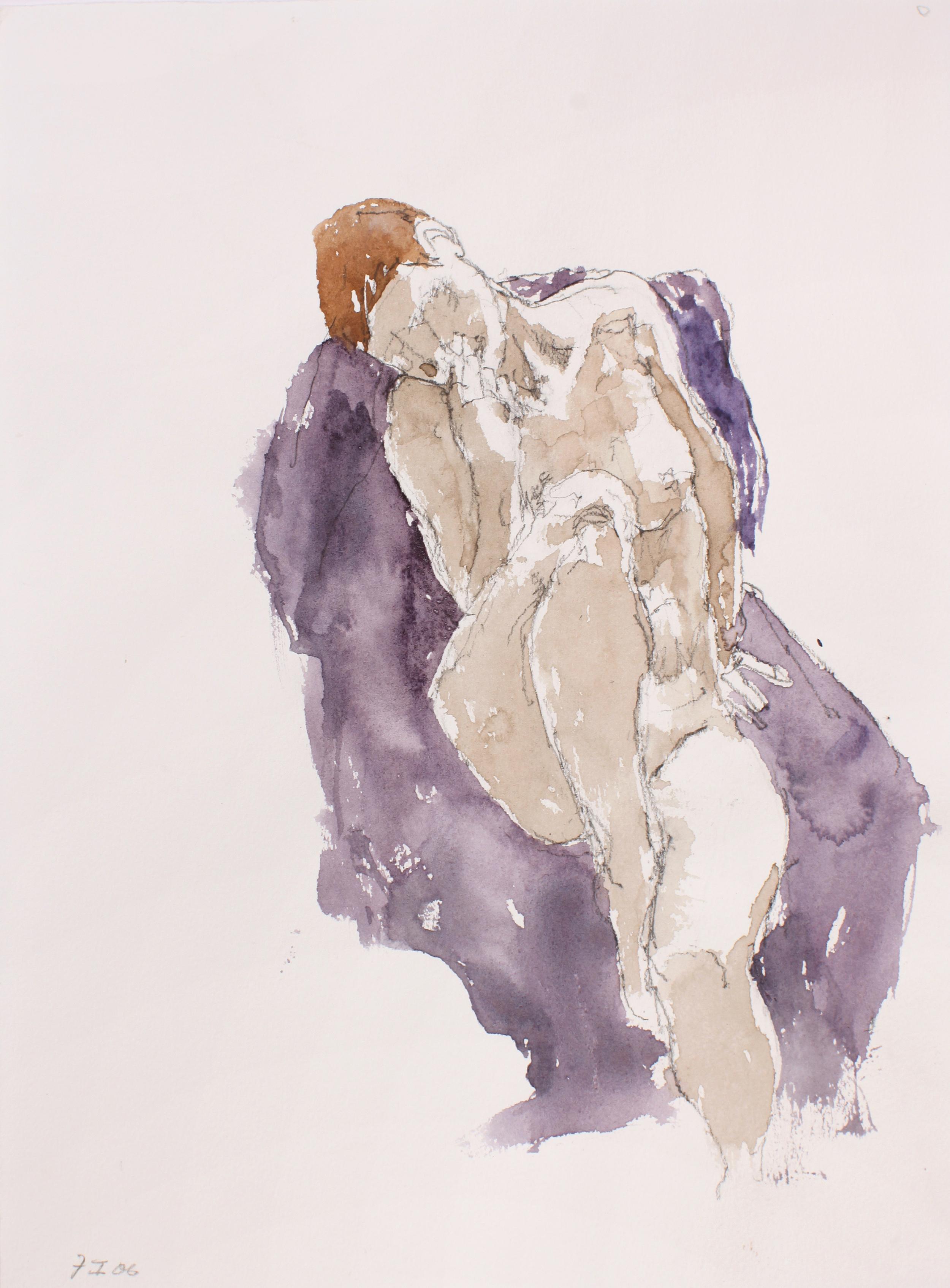 Seated Nude with Raised Leg on Mauve Cloth