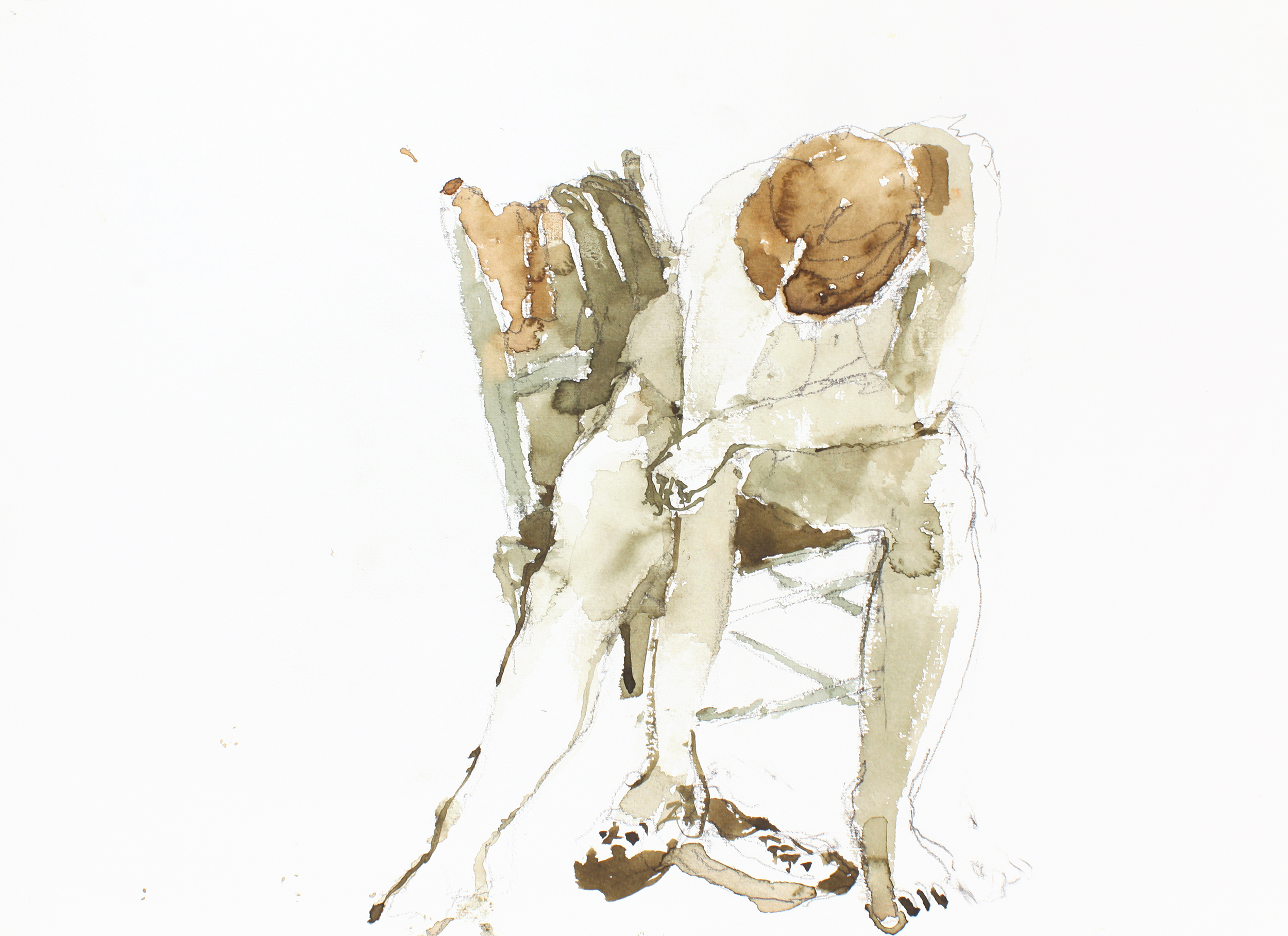 Seated Nude Holding Shoes  2005 watercolour and pencil on paper 11x15in WPF064  Whether painting representational or abstract images, John Fox always drew from the model. The leaning figure contrasts with the slanted chair back while the line of her arm and shoulders parallels the rungs of the chair. Watercolour was a favourite medium because it's difficult to control, but Fox's dynamic tones of green and ochre prove his mastery of his materials.