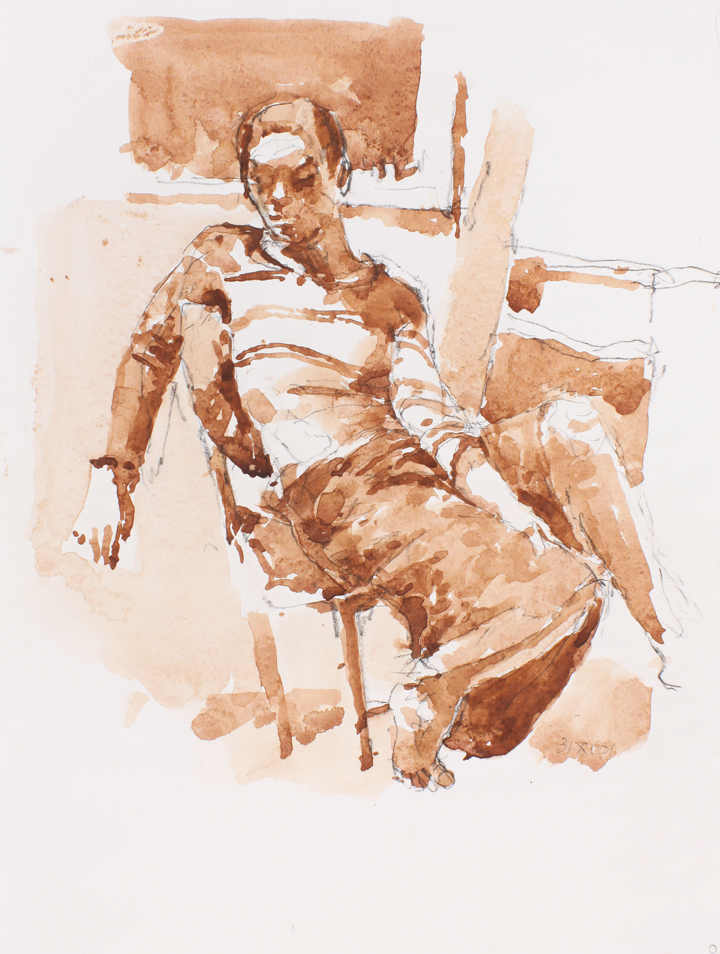 Male Figure Leaning in Chair