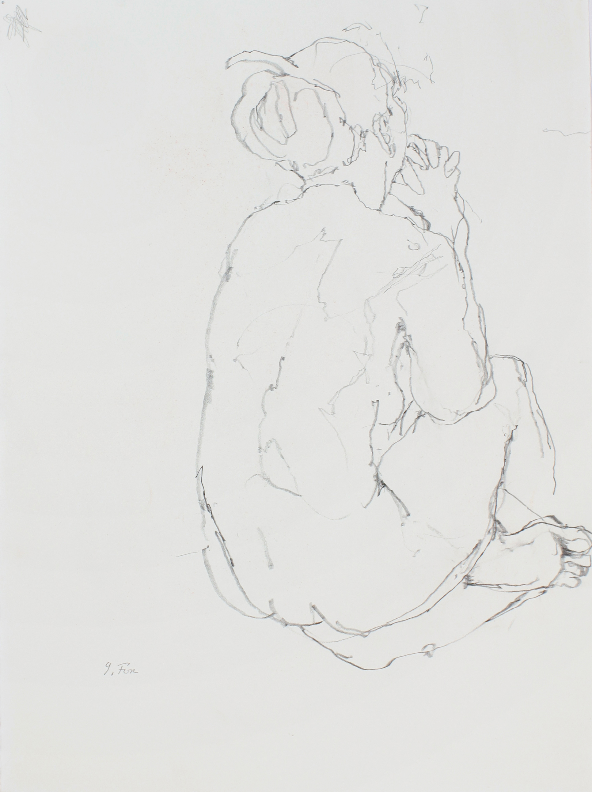 Seated Nude from Back with Clasped Hands
