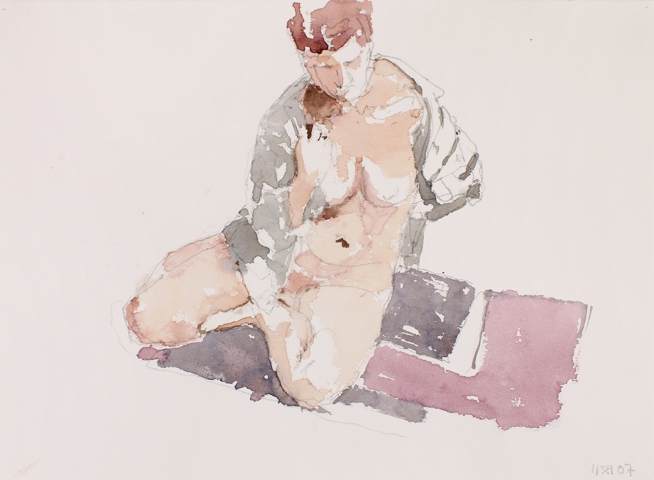 Nude Seated on with Open Blue Shirt