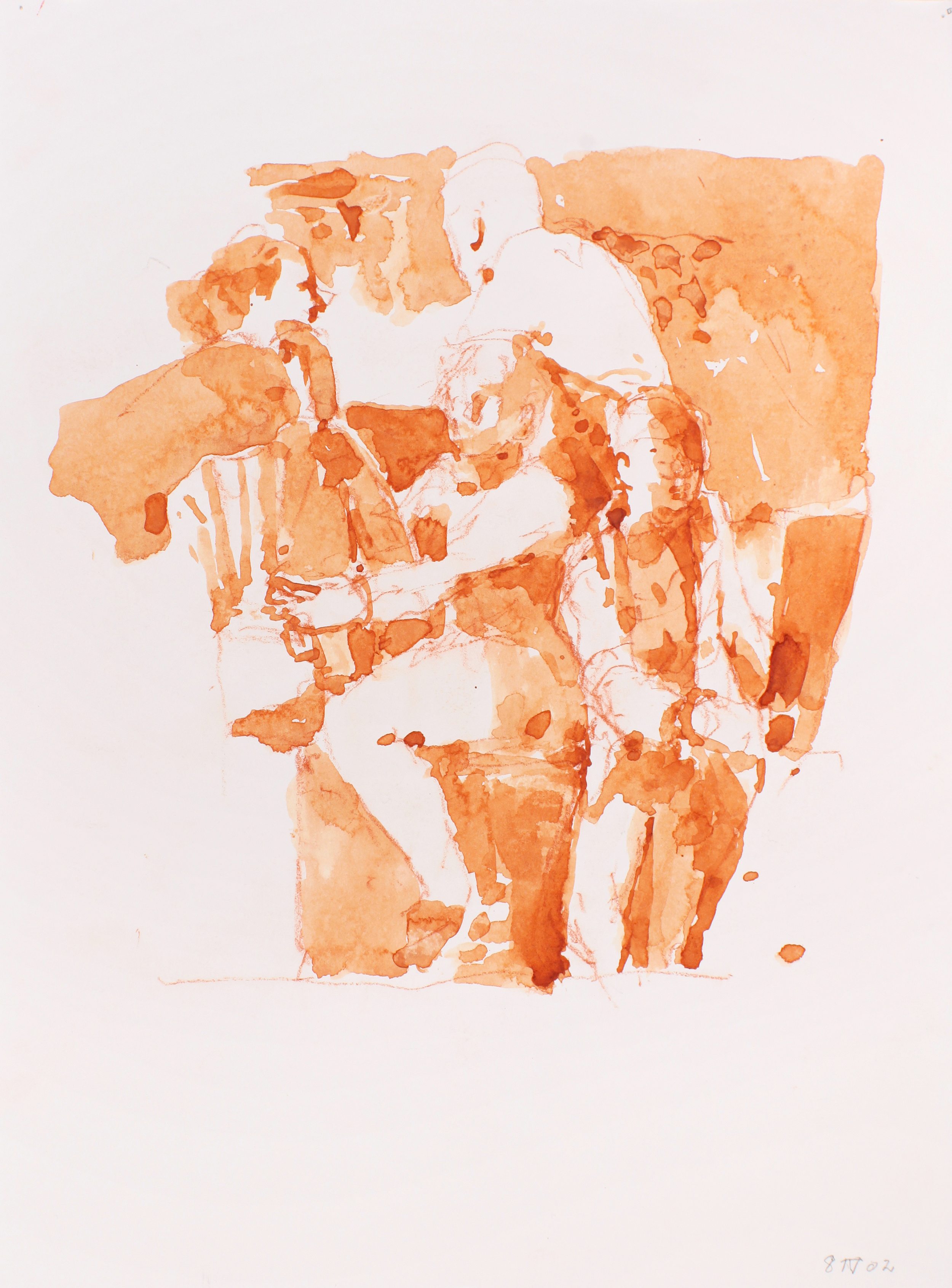 2002_Group_of_Figures_with_Easels_watercolour_and_red_conte_on_paper_15x11in_WPF047.jpg