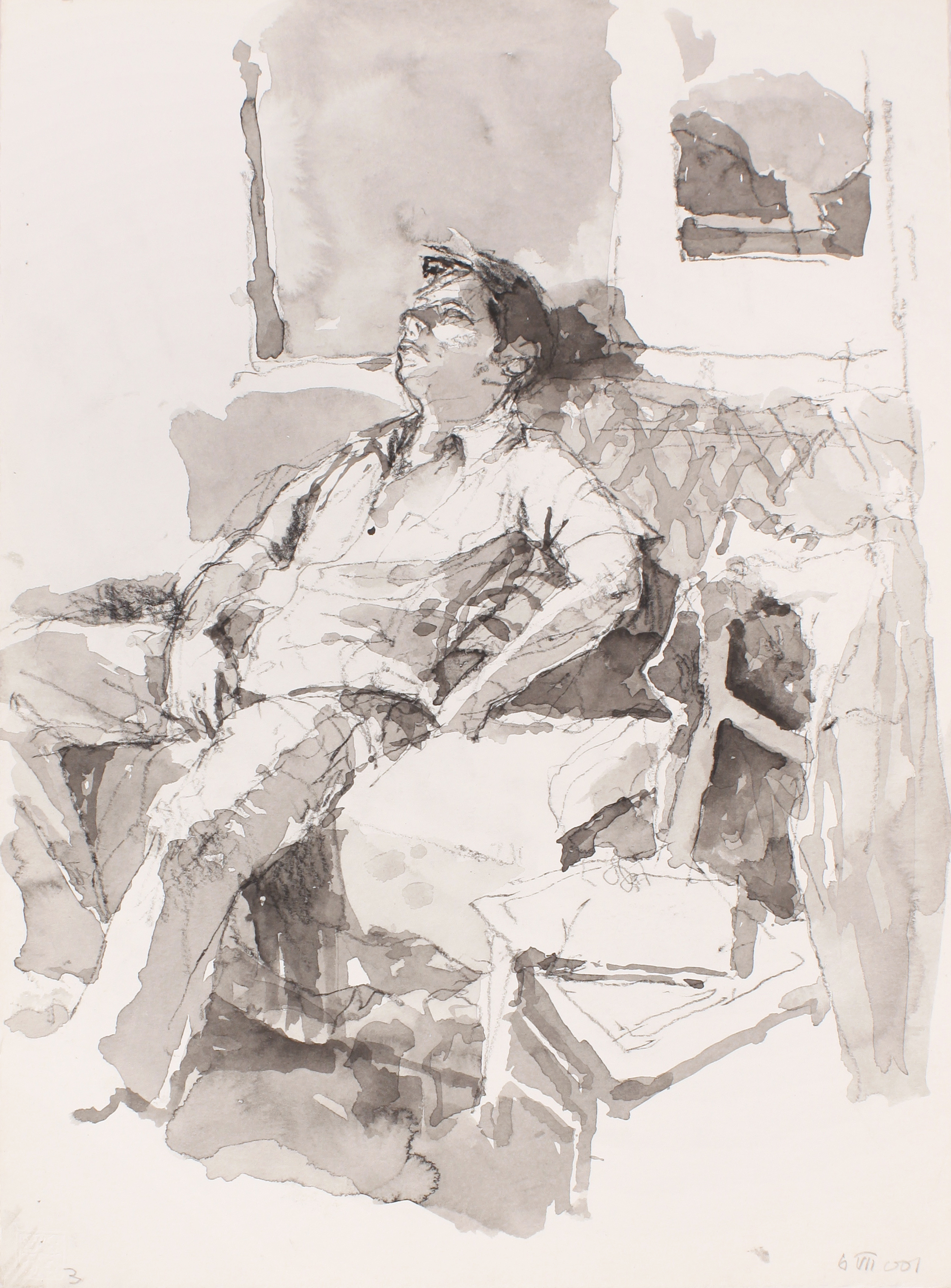 Anthony on Sofa Alongside Chair with Jacket Figure in Studio