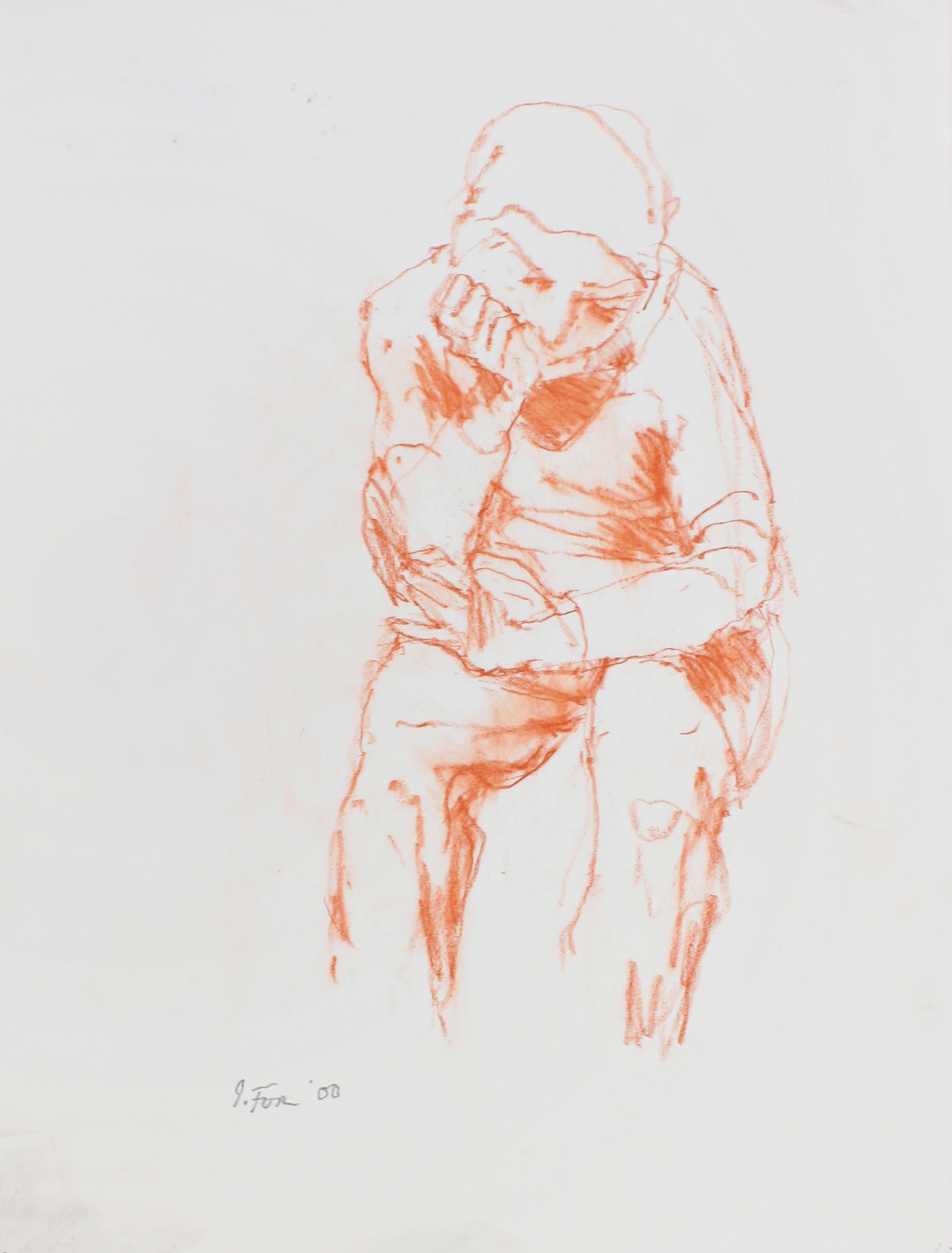 Seated Figure with Hand at Jaw and Arm Across Thighs