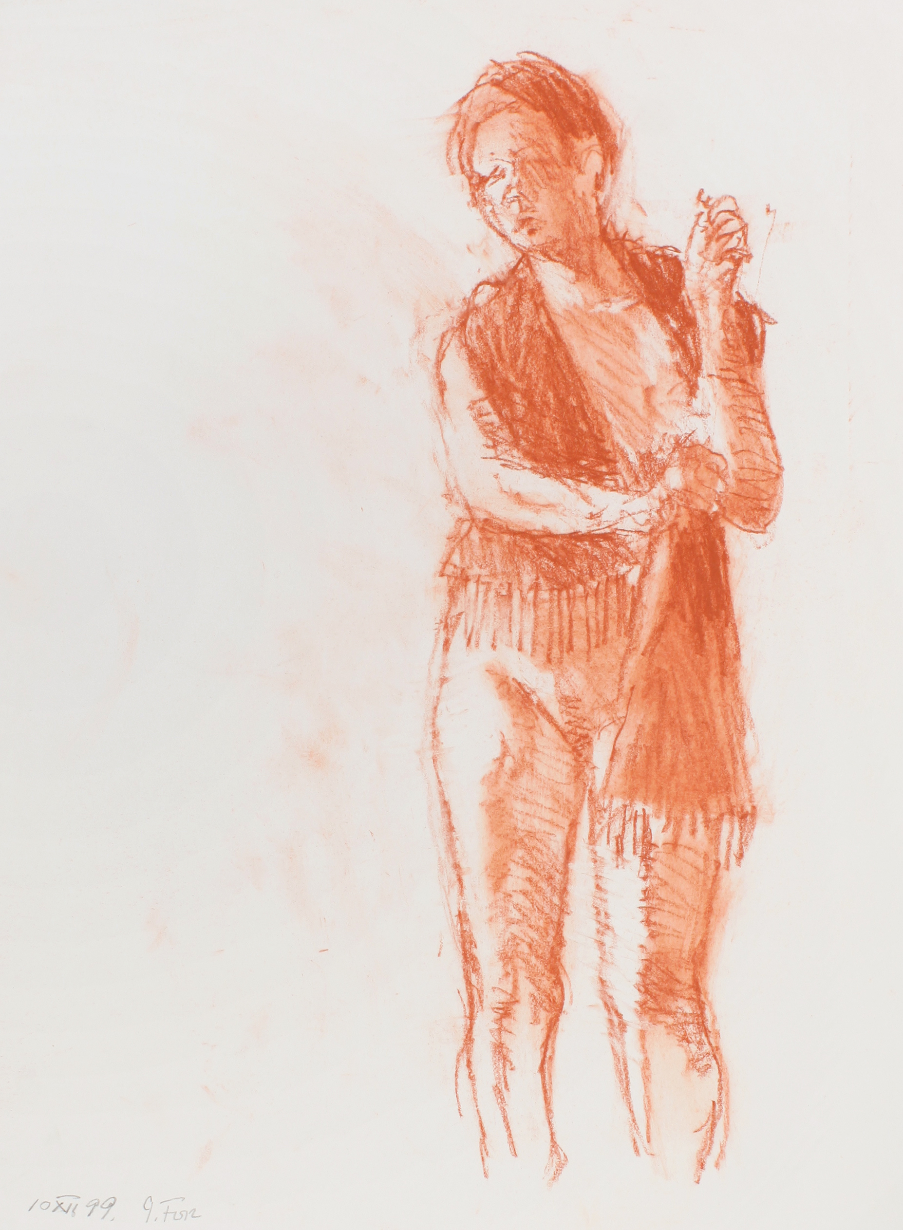 1999_Standing_Nude_with_Fringed_Long_Scarf_red_conte_on_paper_15x11in_WPF555.jpg