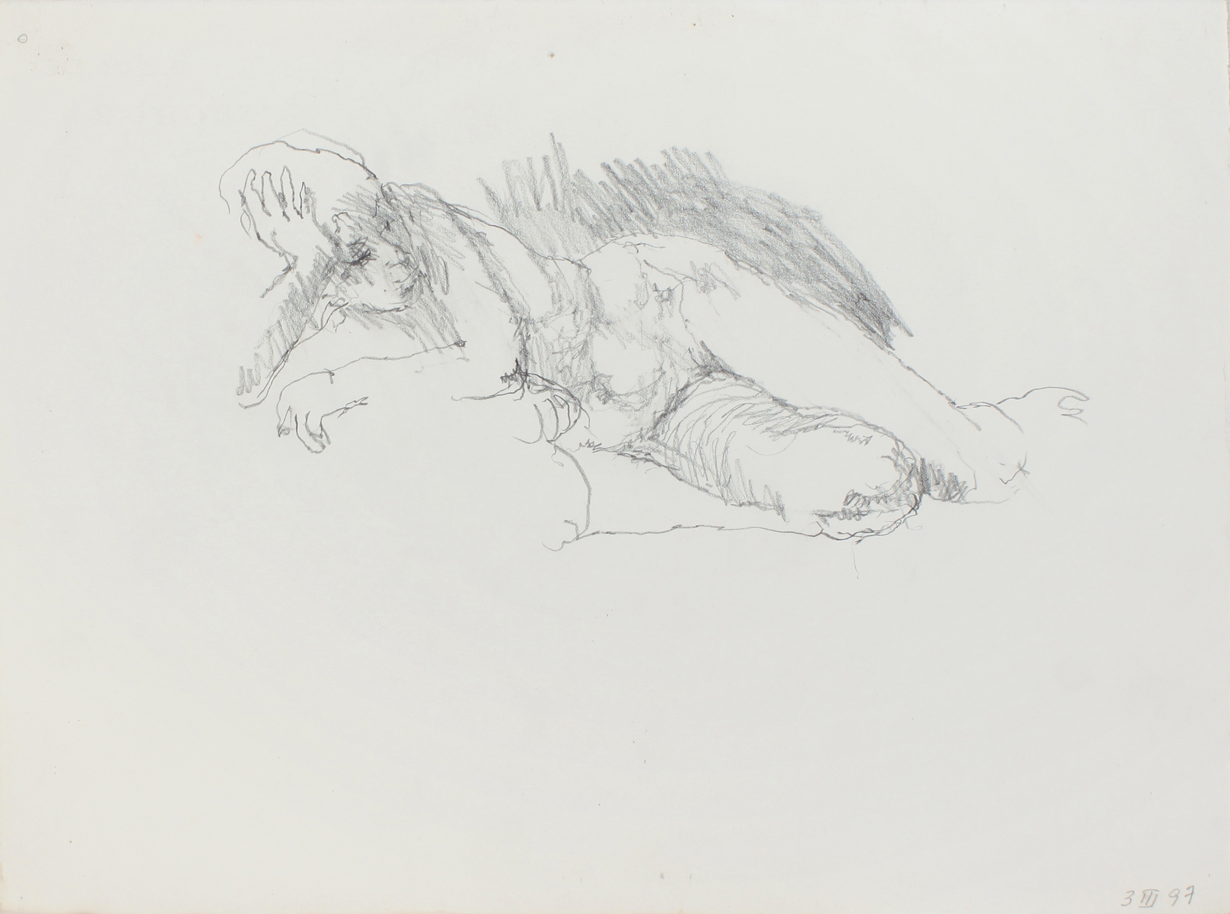 Reclining Nude with Hand on head and Bent Legs