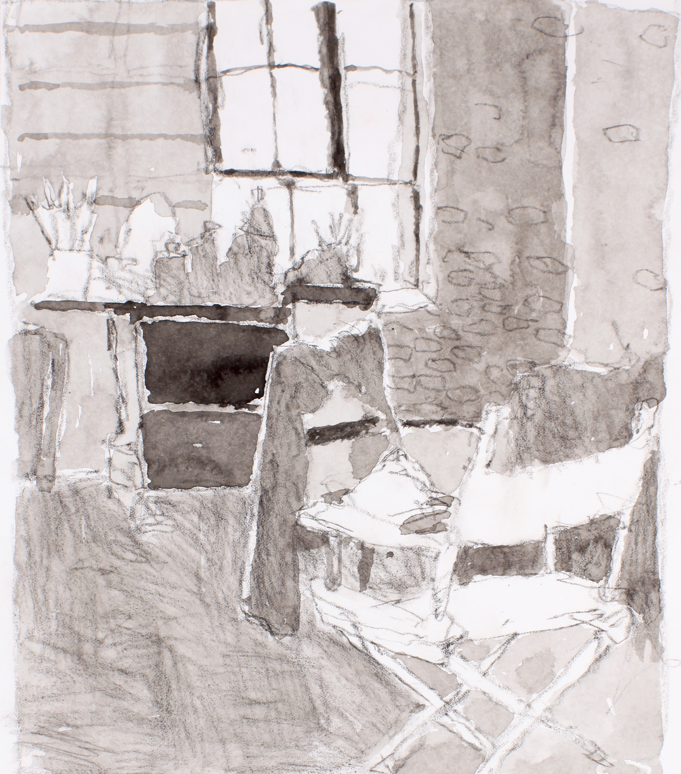 1990s_Studio_Interior_with_Directors_Chair_and_Jacket_on_Small_Chair_watercolour_and_conte_on_paper_10x9in_WPF651.jpg