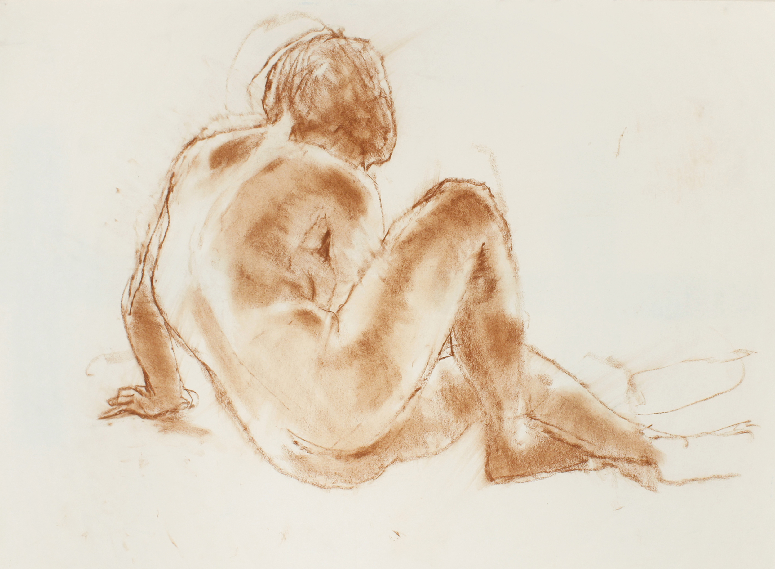 Seated Nude with Crossed Legs From Back