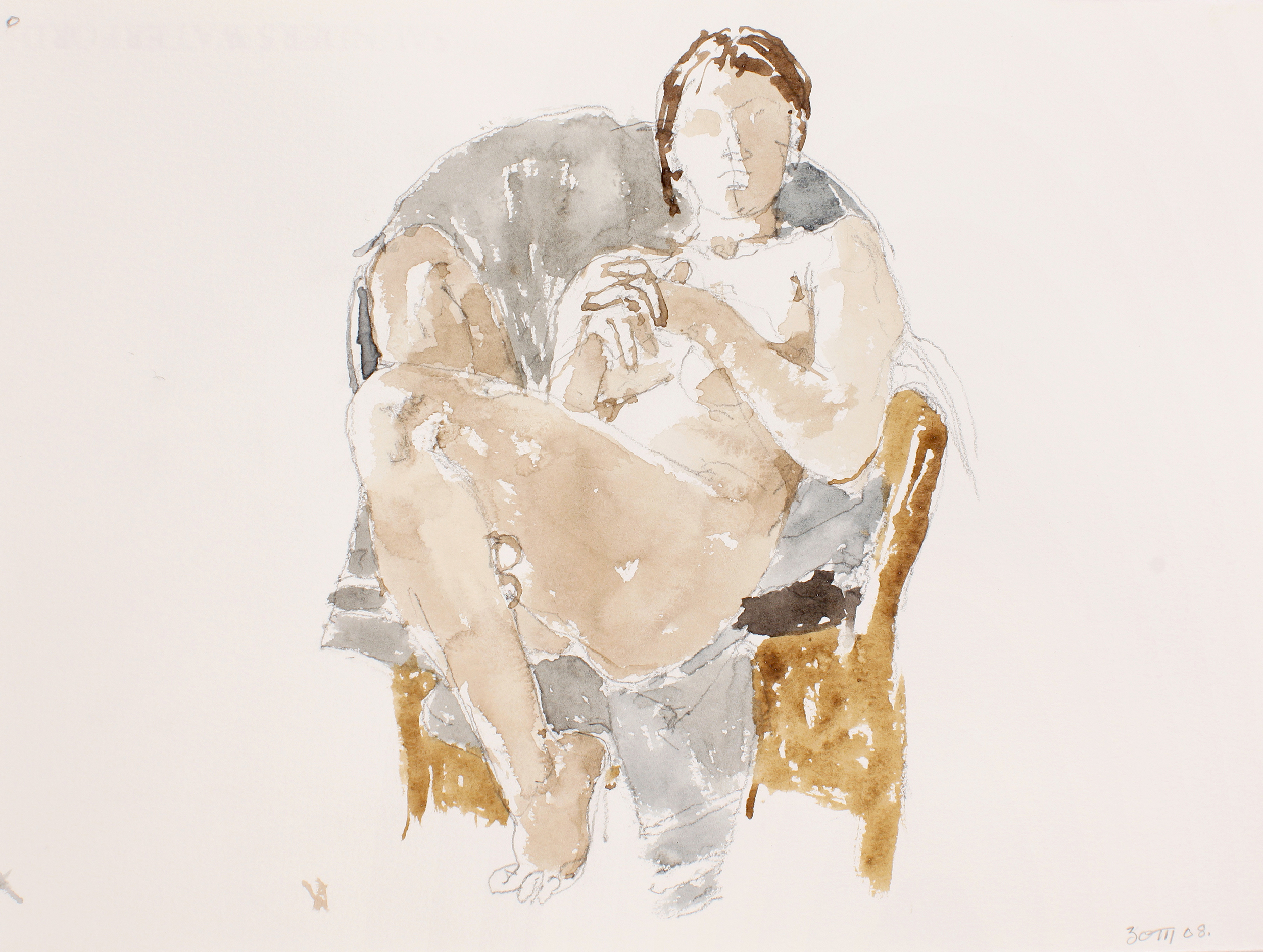 2008_Nude_Seated_Sideways_in_Rattan_Chair_with_Cloth_watercolour_and_pencil_on_paper_11x15in_WPF557.jpg