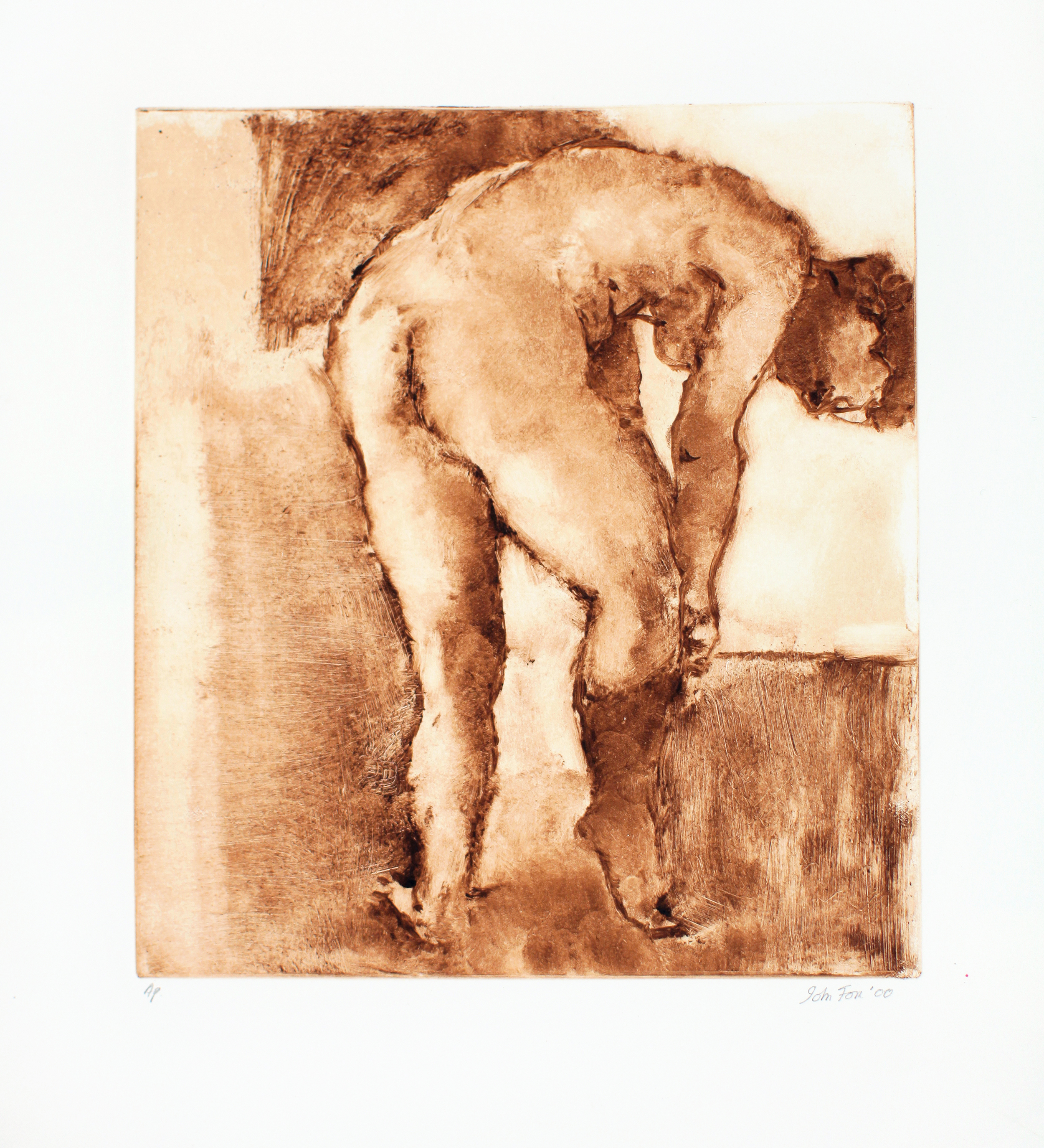 2000_Nude_Putting_on_Sock_monotype-_on_paper_Paper_18x15in_image_11x9in_WPF434.jpg