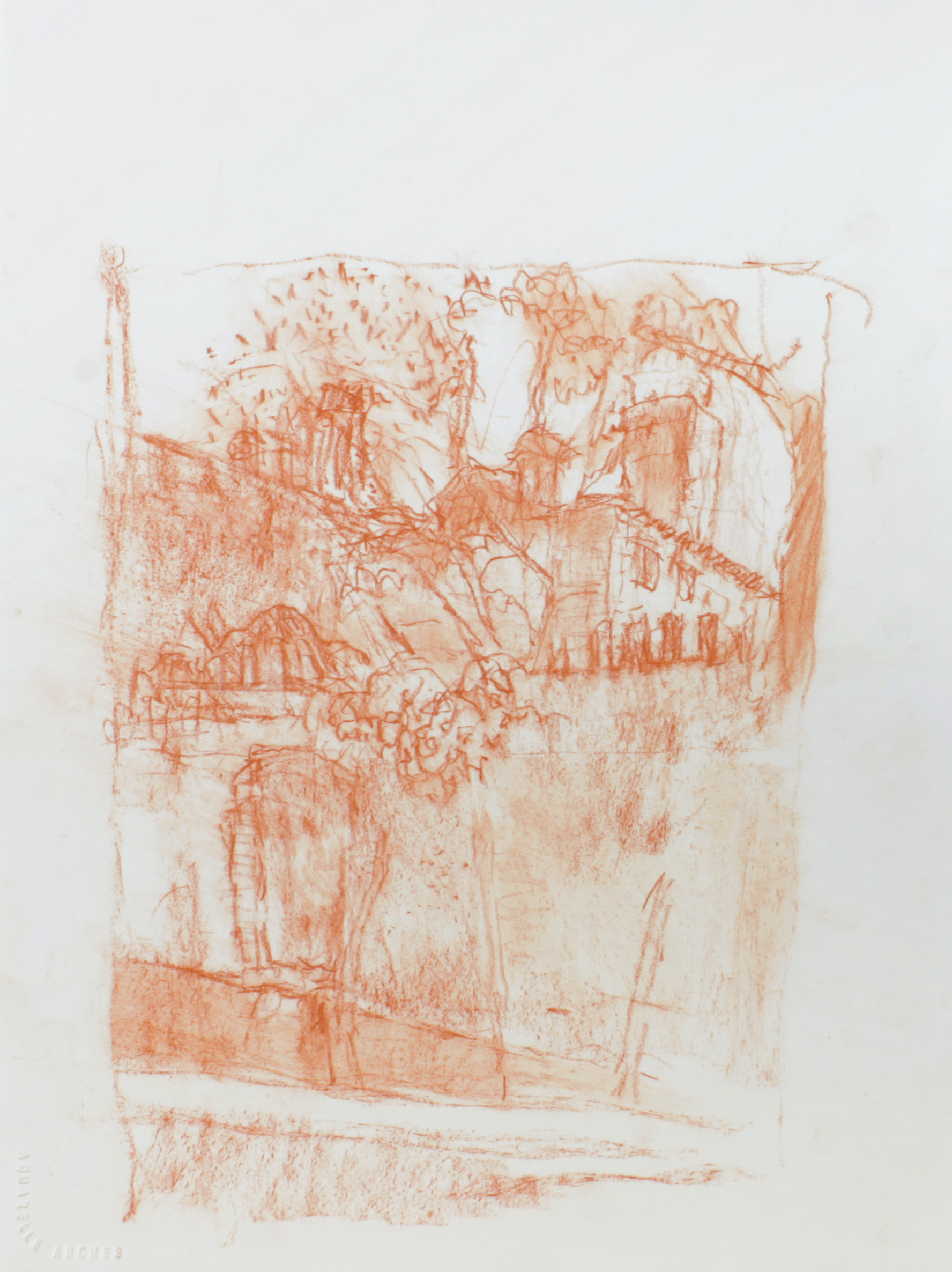 1990s_Venice_Wall_and_Garden_red_conté_on_paper_15x11in_WPF067.jpg