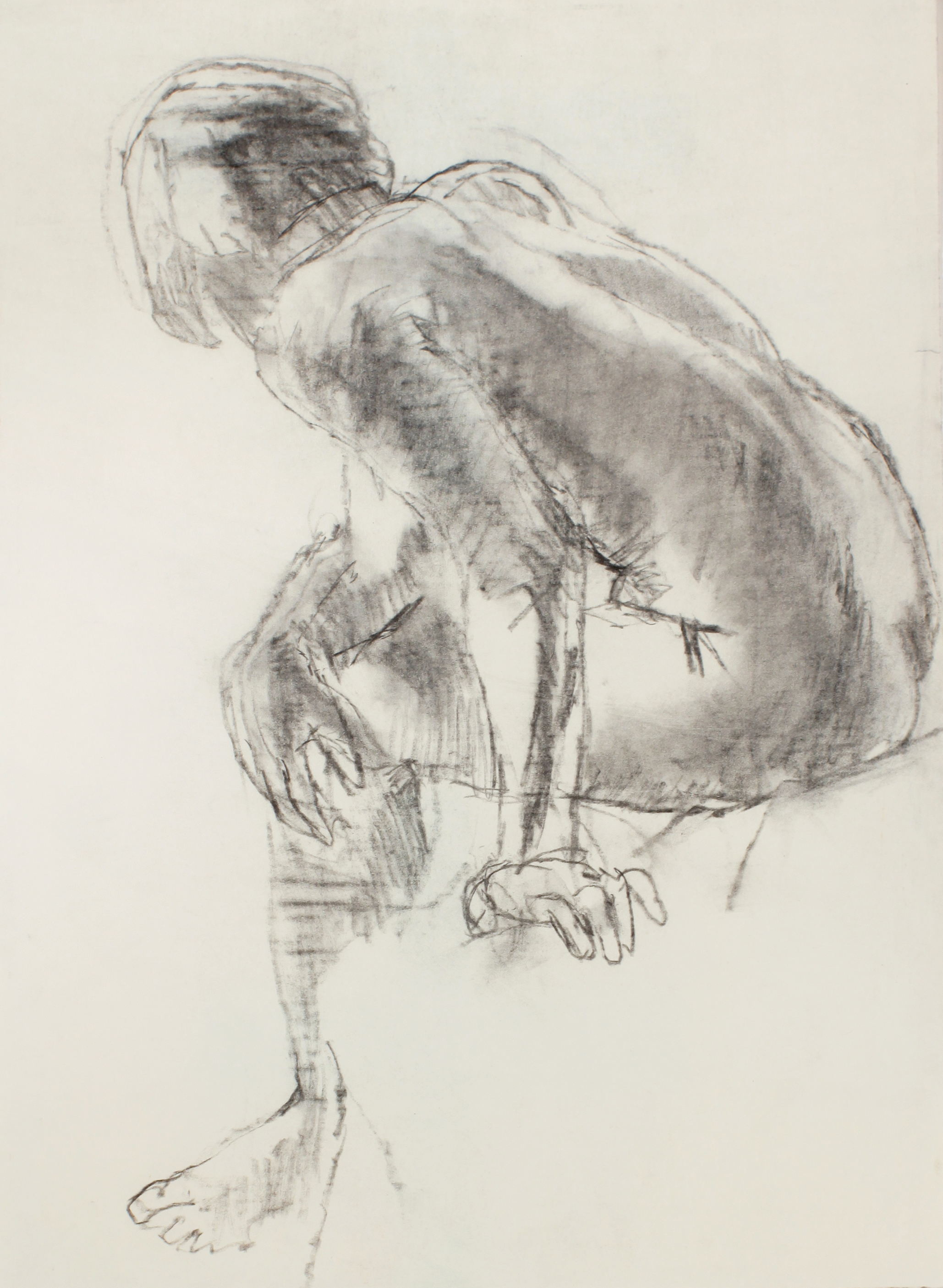 1980s_Seated_Nude_Bending_Forward_From_Back_charcoal_on_paper_26x19in_WPF486.jpg