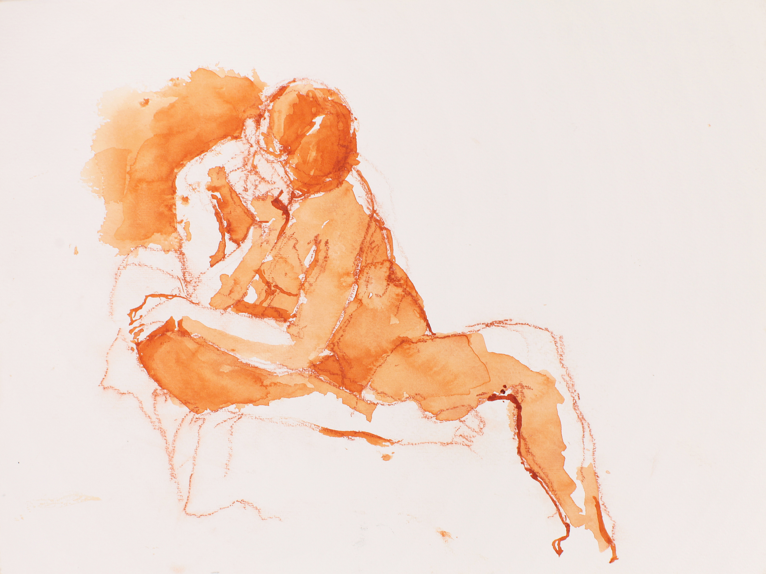 Nude Seated on Couch with Left Arm to Mouth