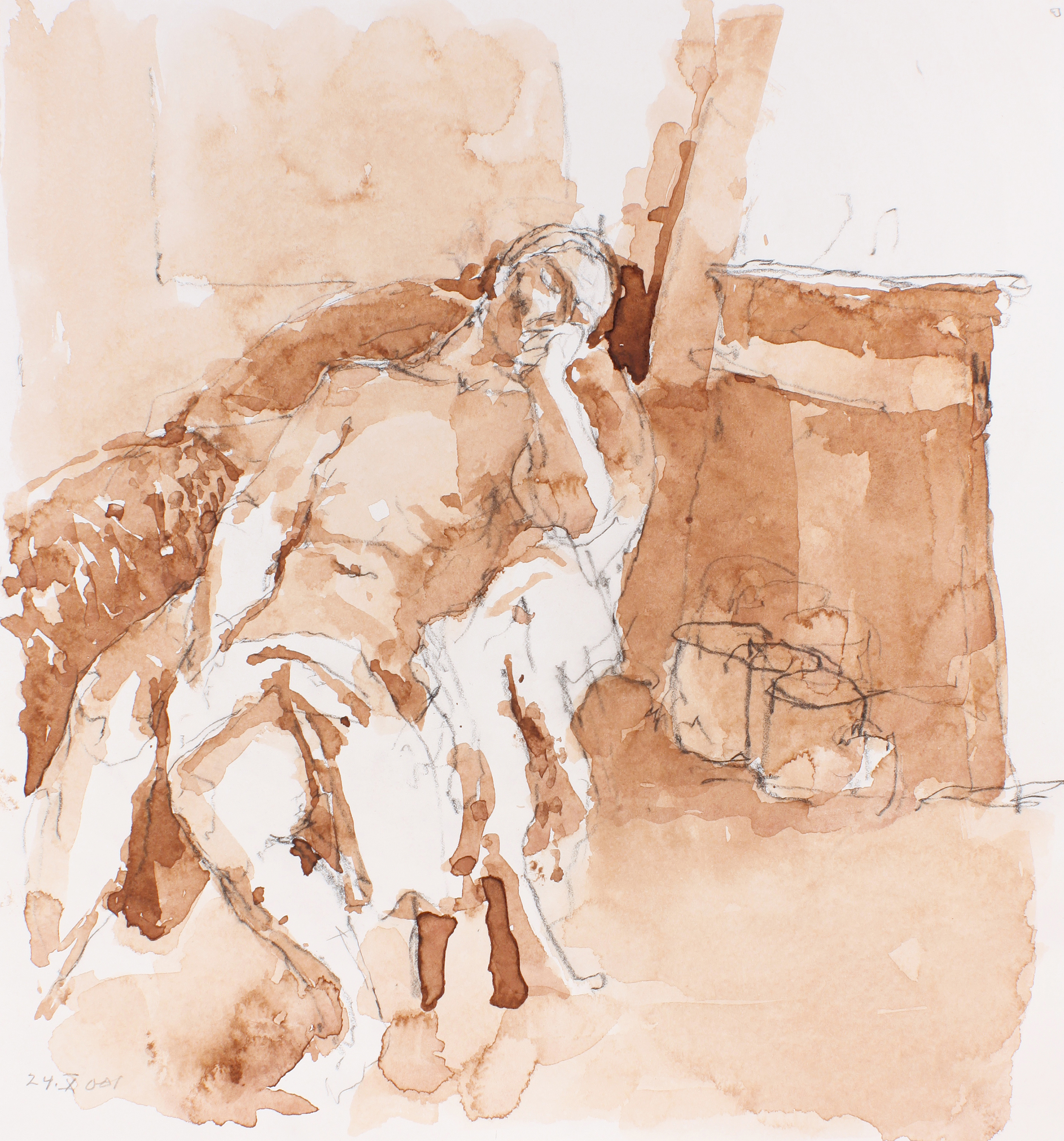 Reclining Nude in Armchair with Bag