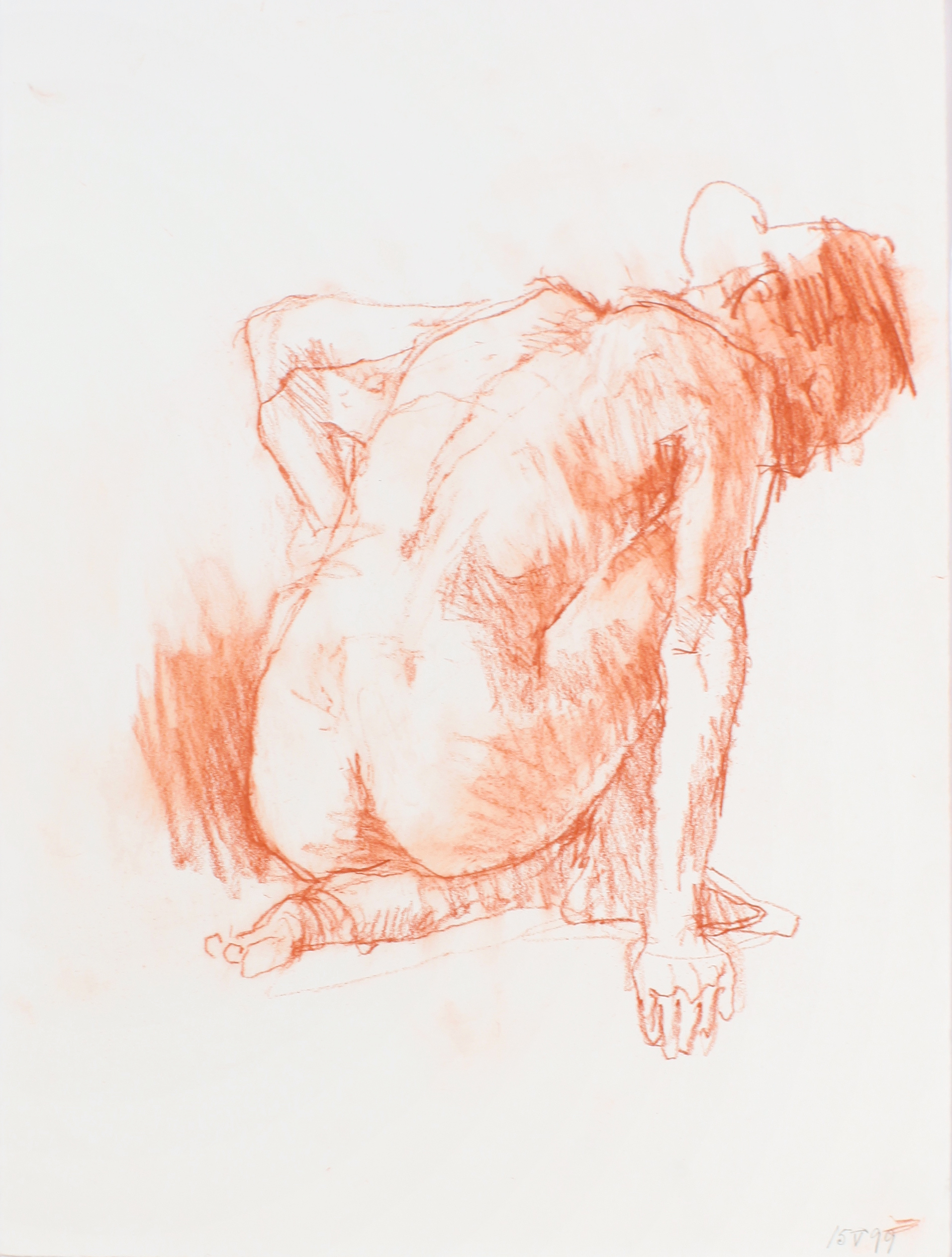 Crouching Female Figure from Back with Straight Right Arm