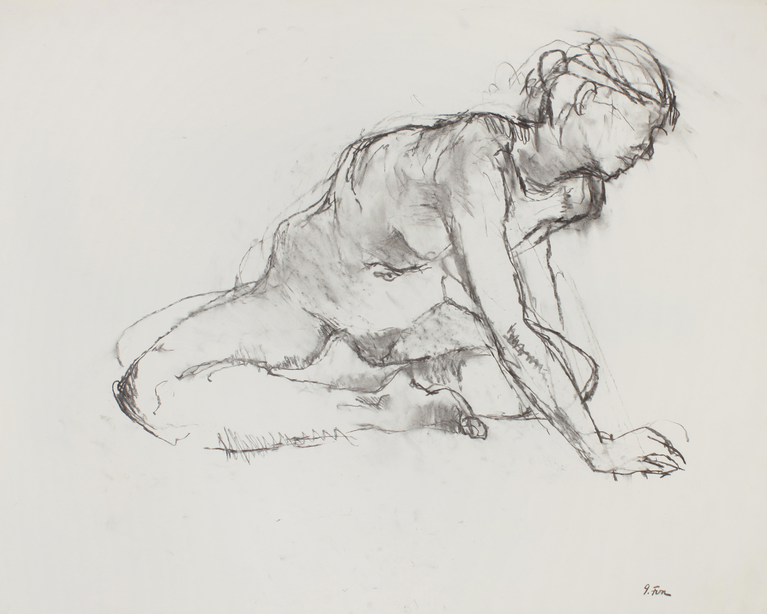 Seated Nude with Cross Legs and Extended Arm