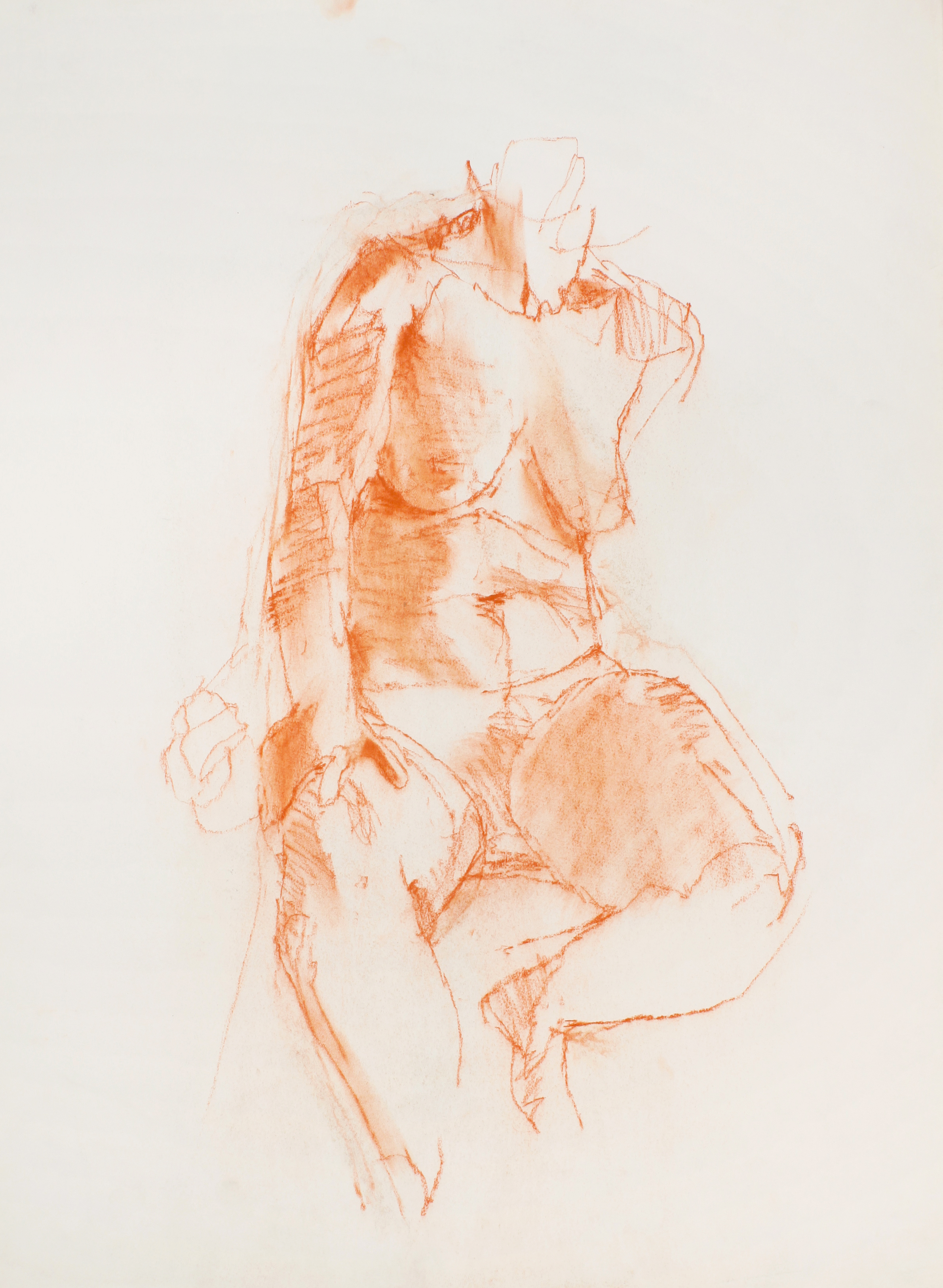 Seated Nude with Bent Legs and Hand on Left Thigh